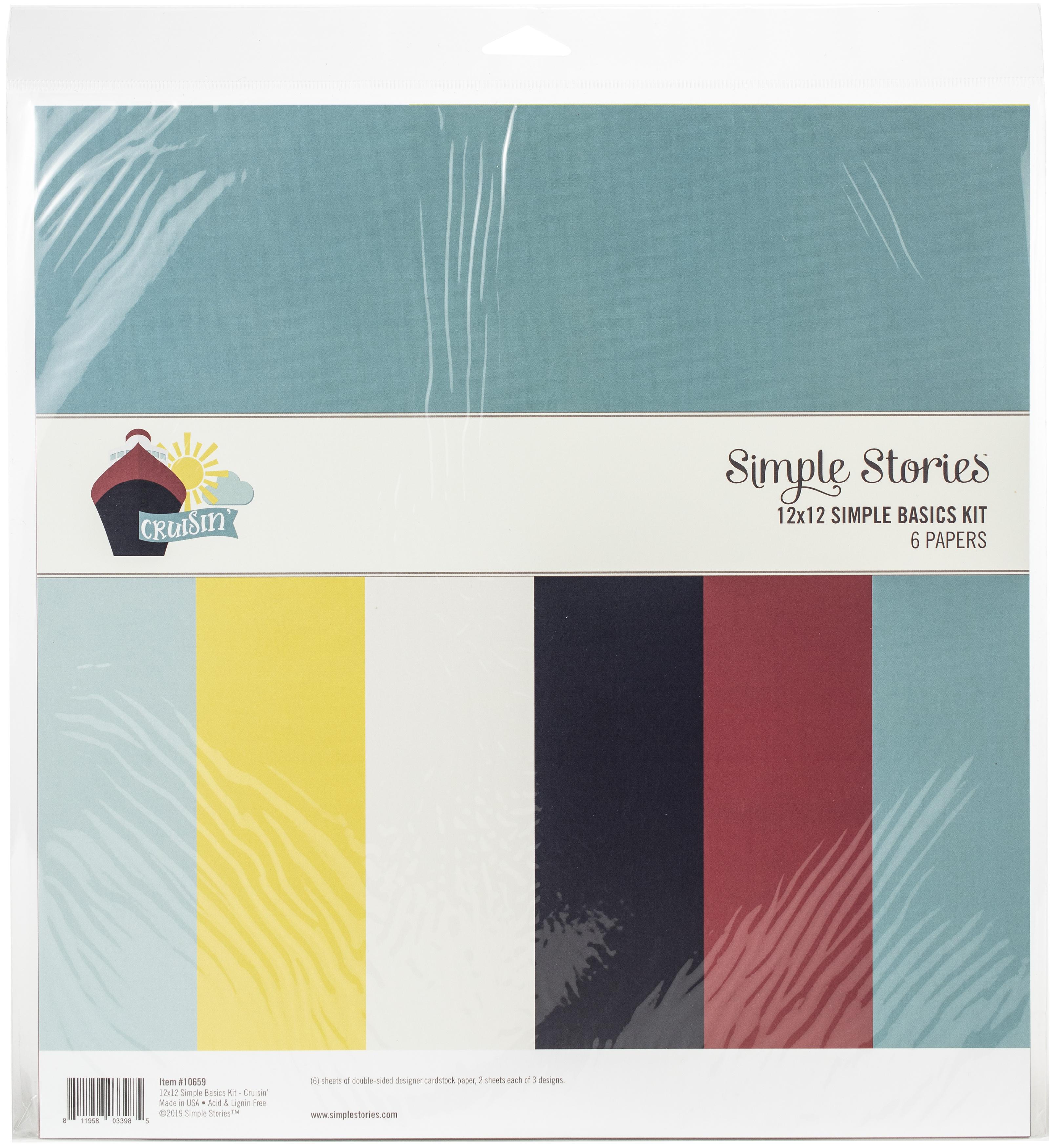 Cruisin' Basics Double-Sided Paper Pack 12X12 6/Pkg-Cruisin' - Simple Stories