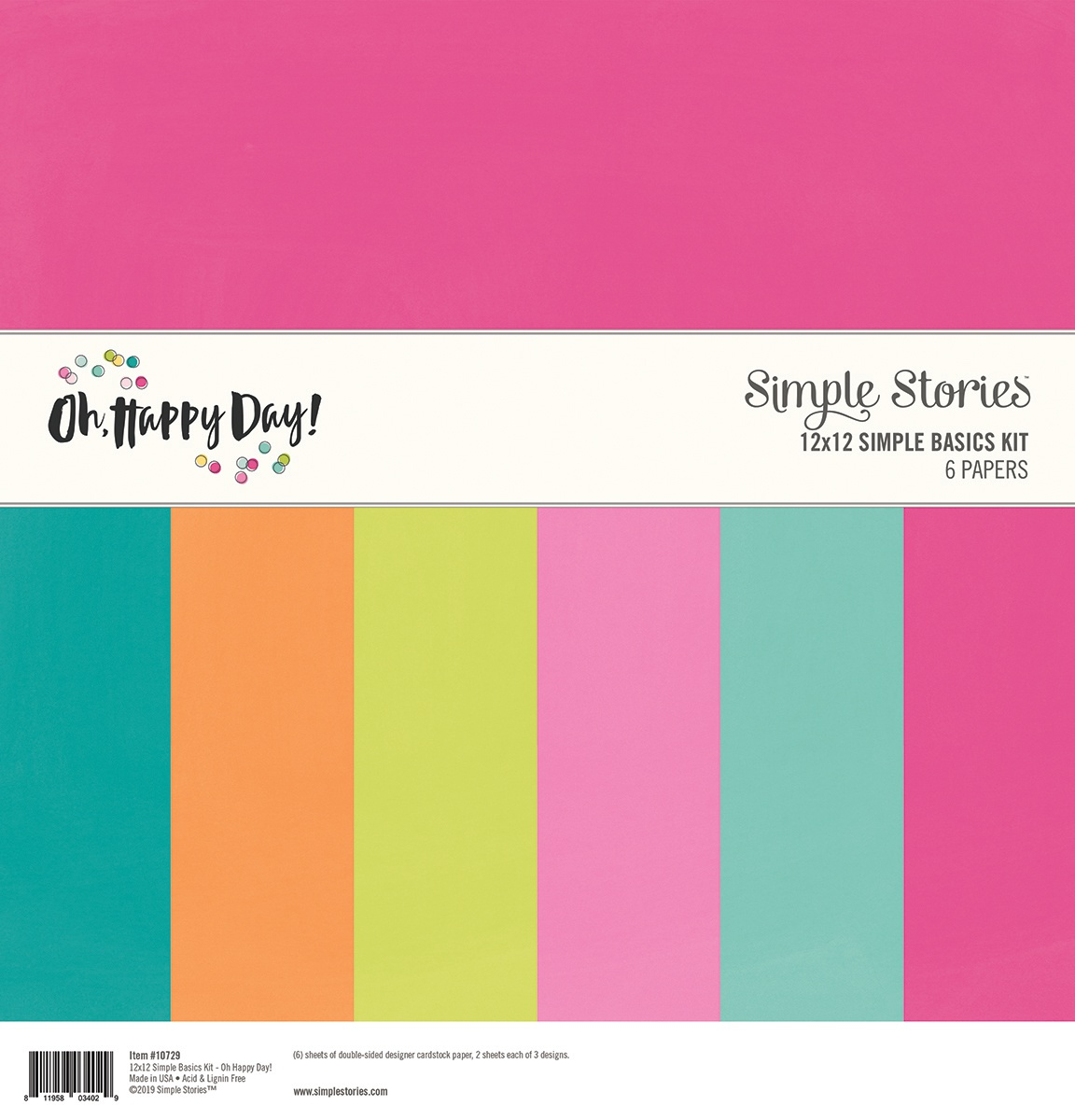Simple Stories Basics Double-Sided Paper Pack 12X12 6/Pkg-Oh Happy Day, 3 Desi...