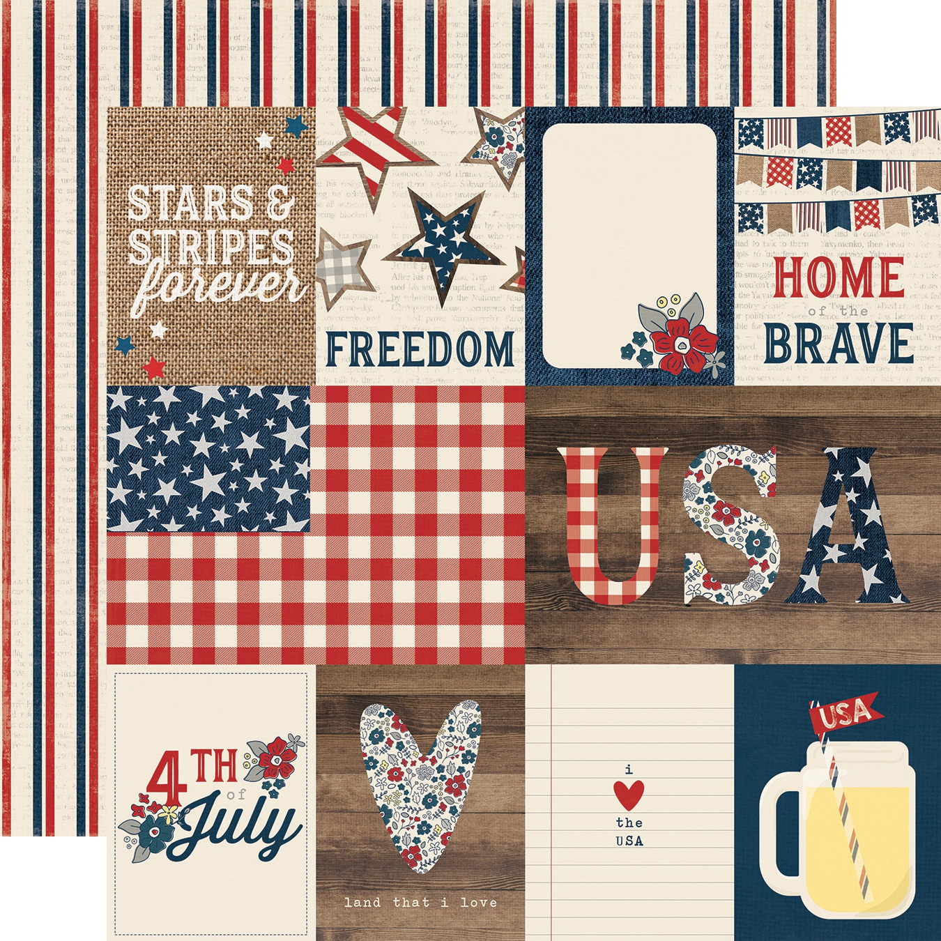 Simple Sets Let Freedom Ring Double-Sided Cardstock 12X12-3X4 & 4X6 Journa...