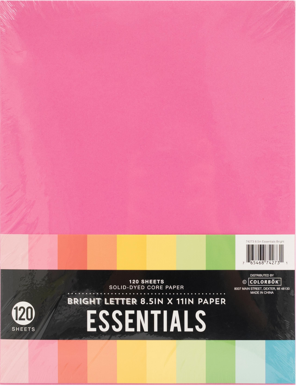 Colorbok Essentials 24lb Cardstock 8.5X11 120/Pkg-Bright