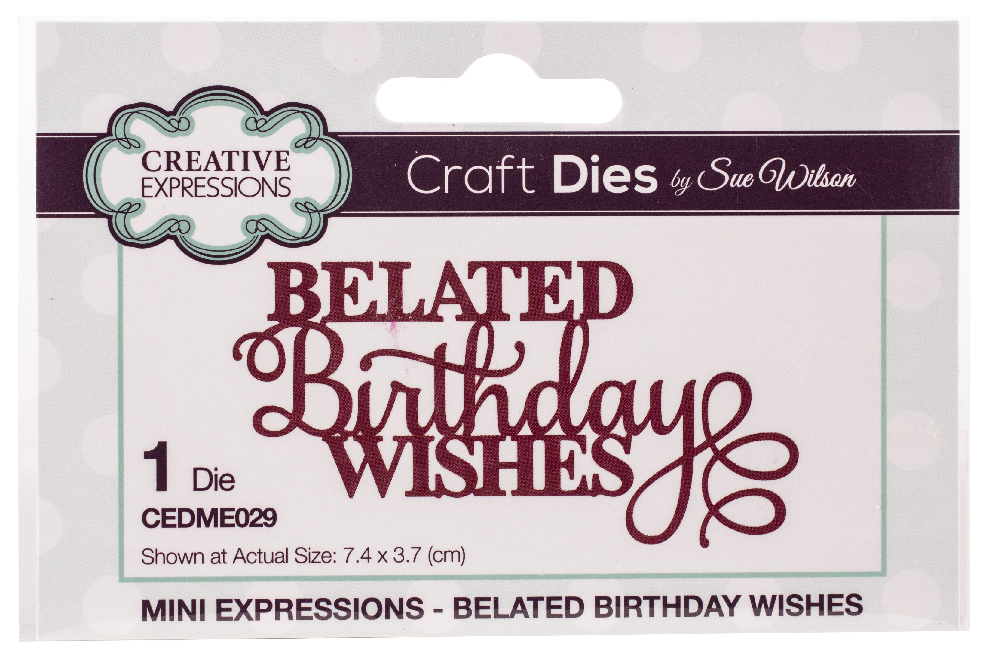 Creative Expressions Craft Dies By Sue Wilson-Mini Expressions-Belated Birthday ...