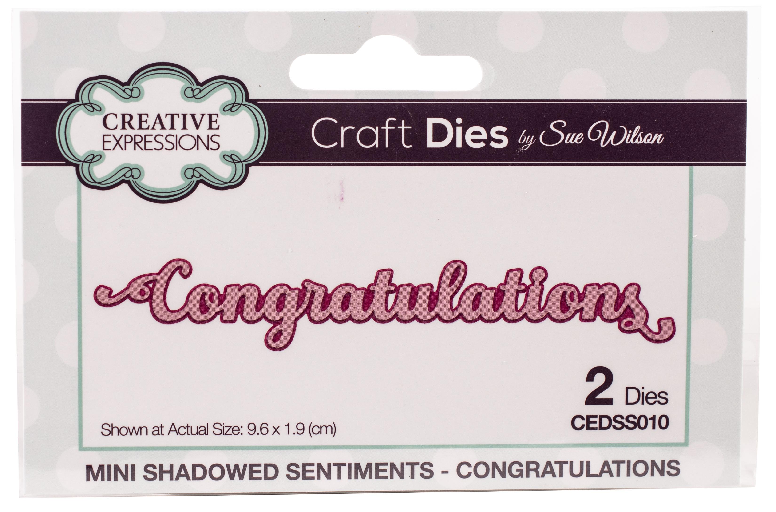 Creative Expressions Craft Dies By Sue Wilson-Shadowed Sentiments-Congratulation...
