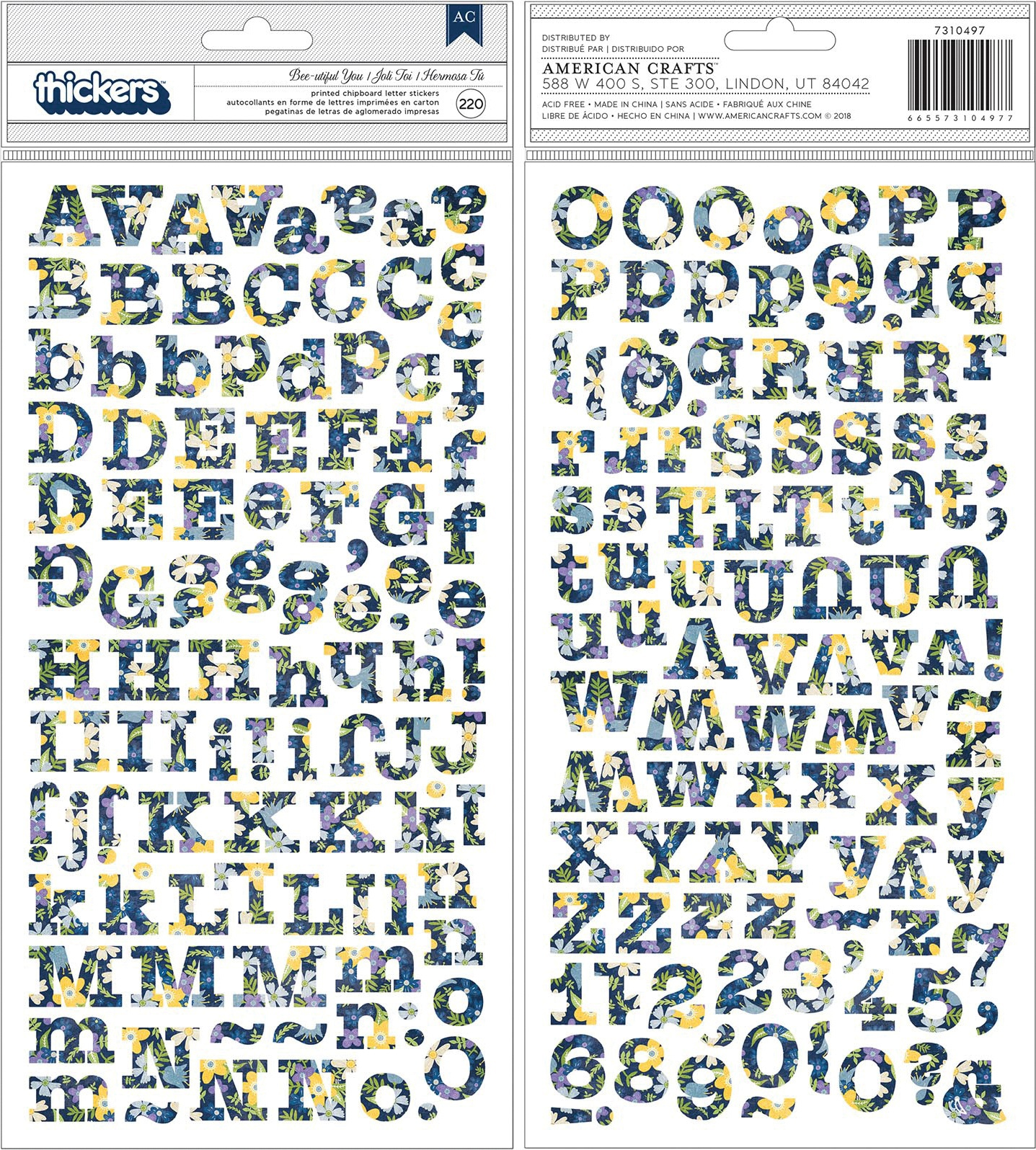 American Crafts Thickers Stickers 5.5X11-Bee-Utiful You, 220/Pkg