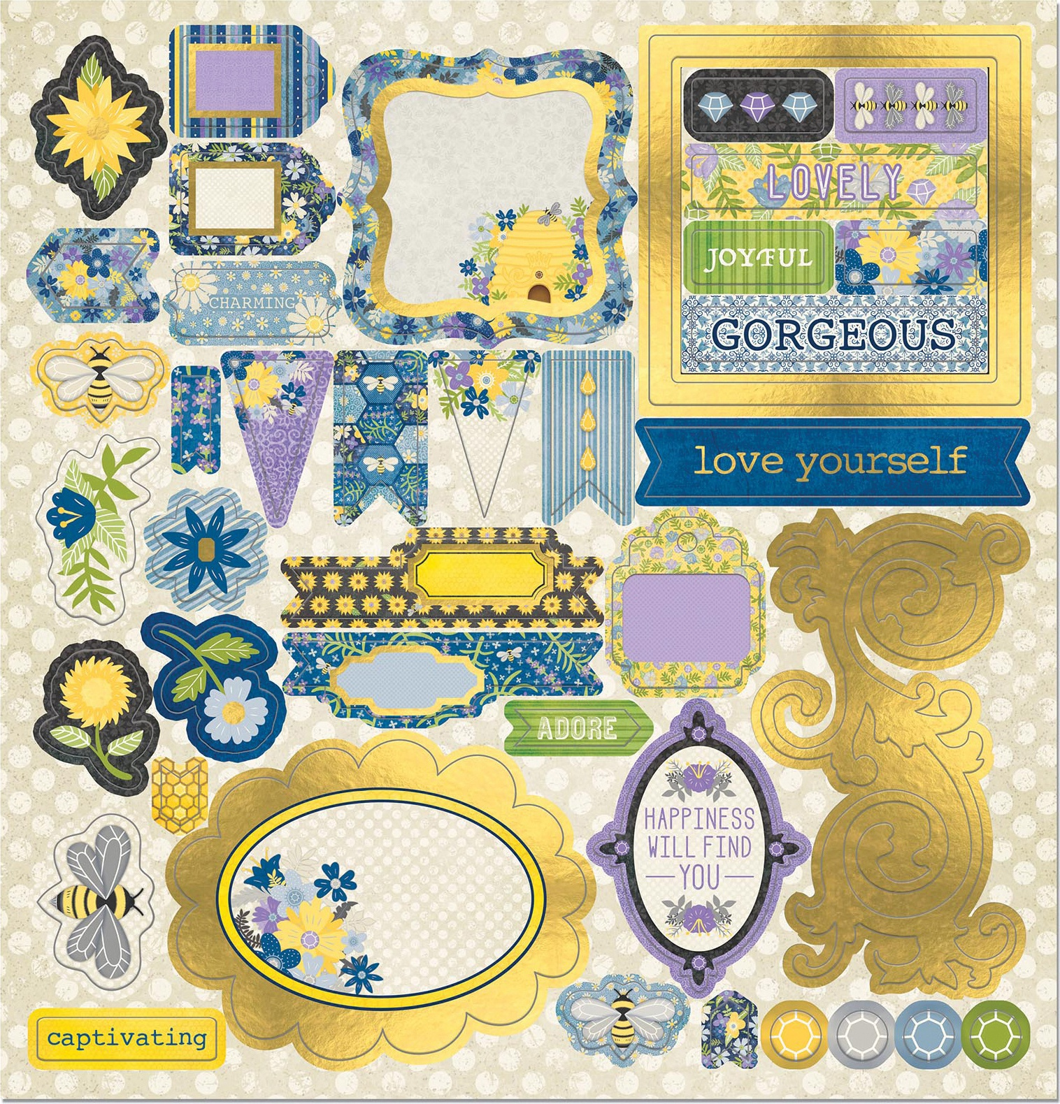 Bee-Utiful You Chipboard Stickers 12X12-W/Iridescent Foil Accents