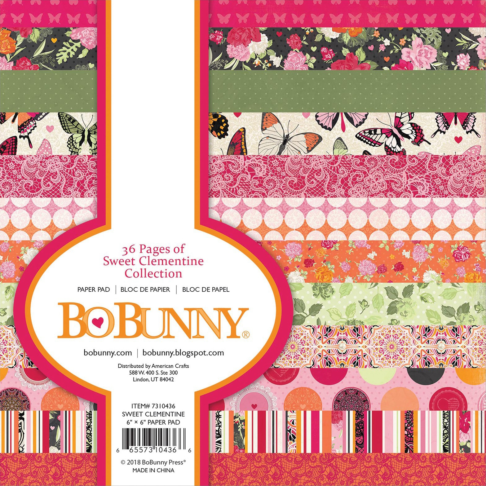 BoBunny Single-Sided Paper Pad 6X6 36/Pkg-Sweet Clementine, 12 Designs/3 Each