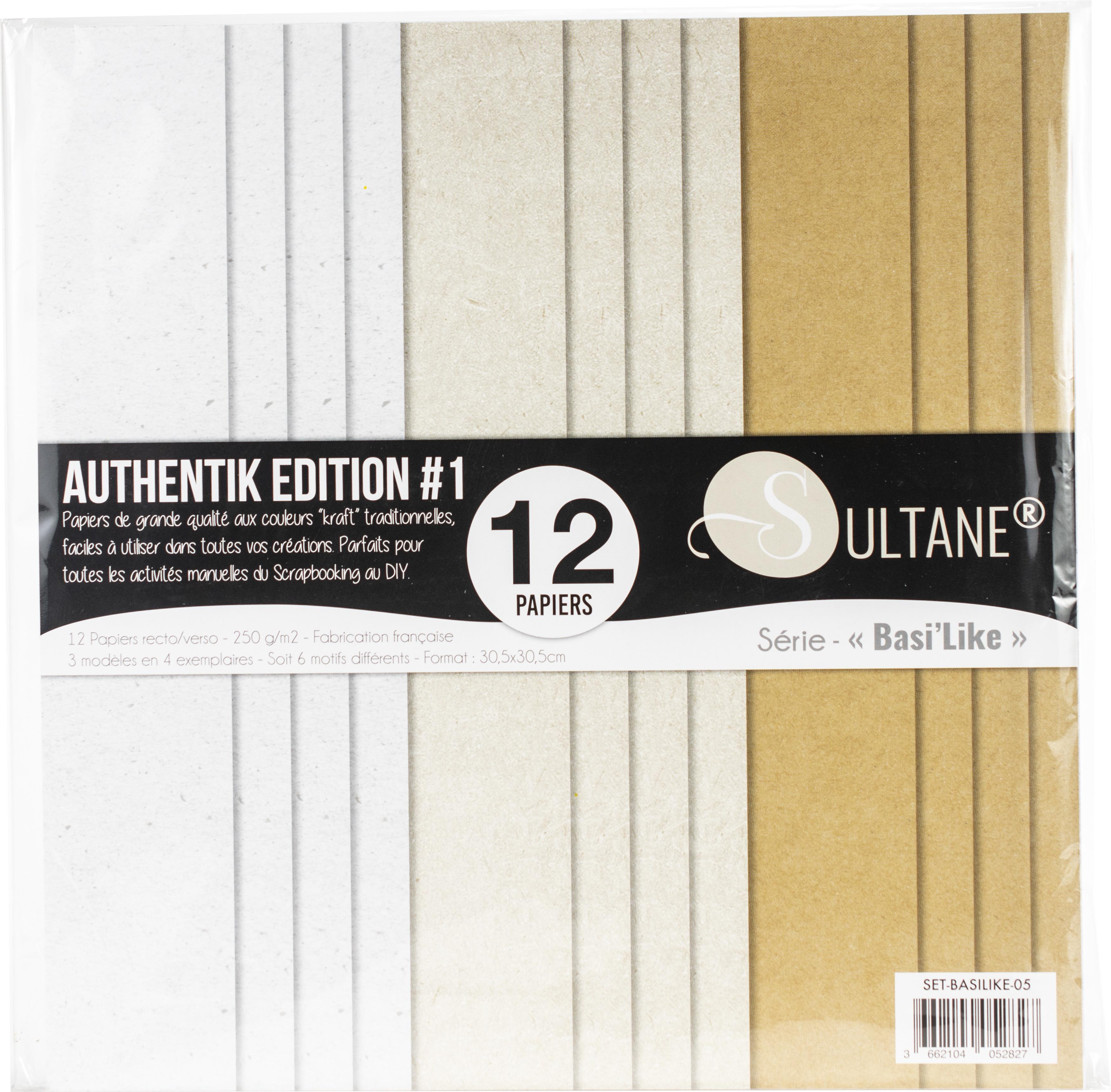 Carabelle Double-Sided Cardstock 250gsm 12X12 12/Pkg-Authentik Krafts, 3 Desig...