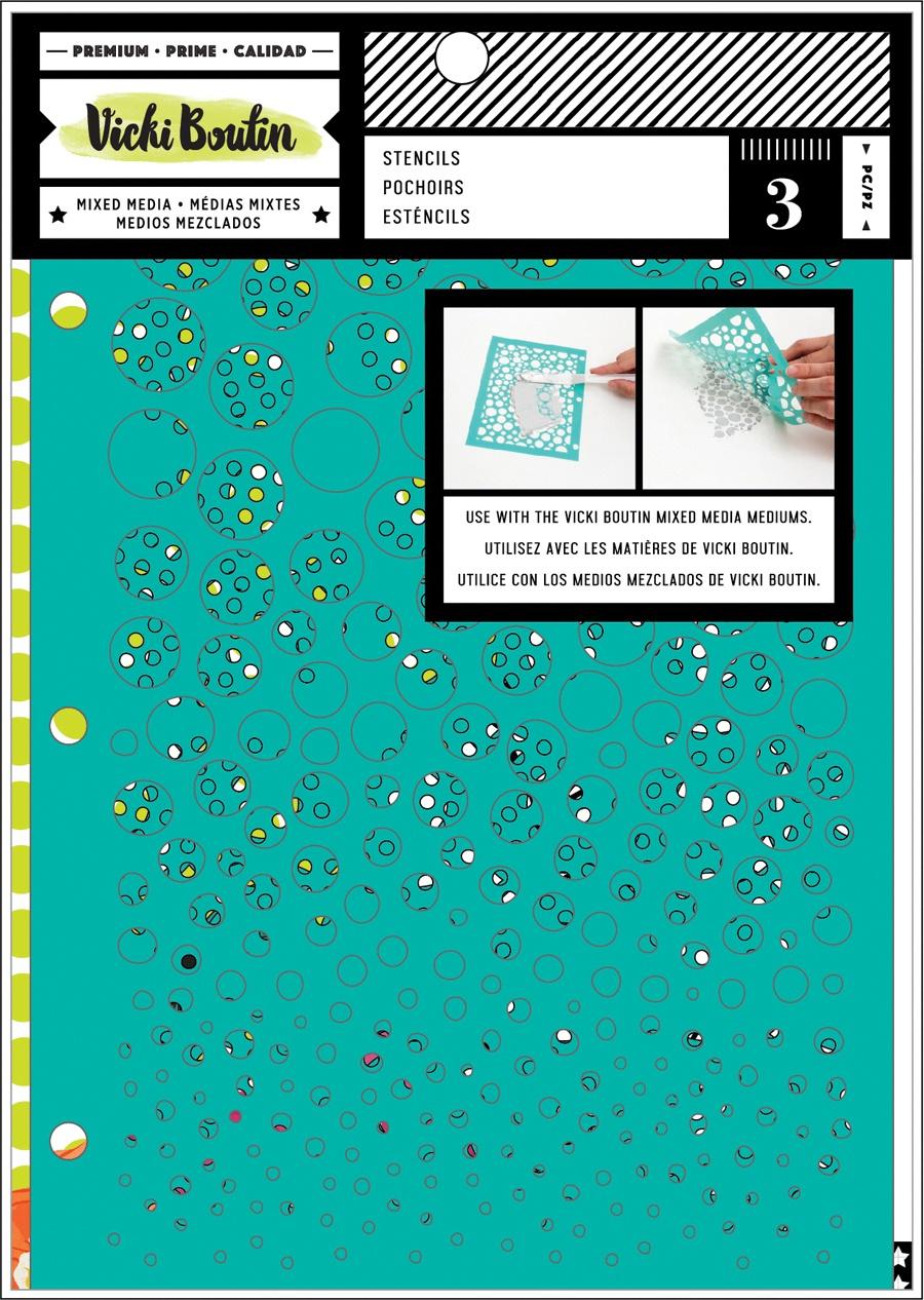 Vicki Boutin Mixed Media Stencils 3/Pkg-Kaleidoscope