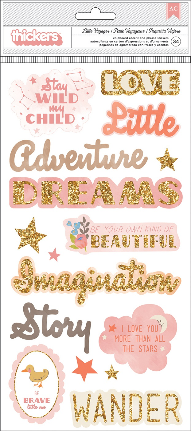 Little Adventurer Thickers Stickers 5.5X11 34/Pkg-Girl Phrase & Icons/Chipboar...