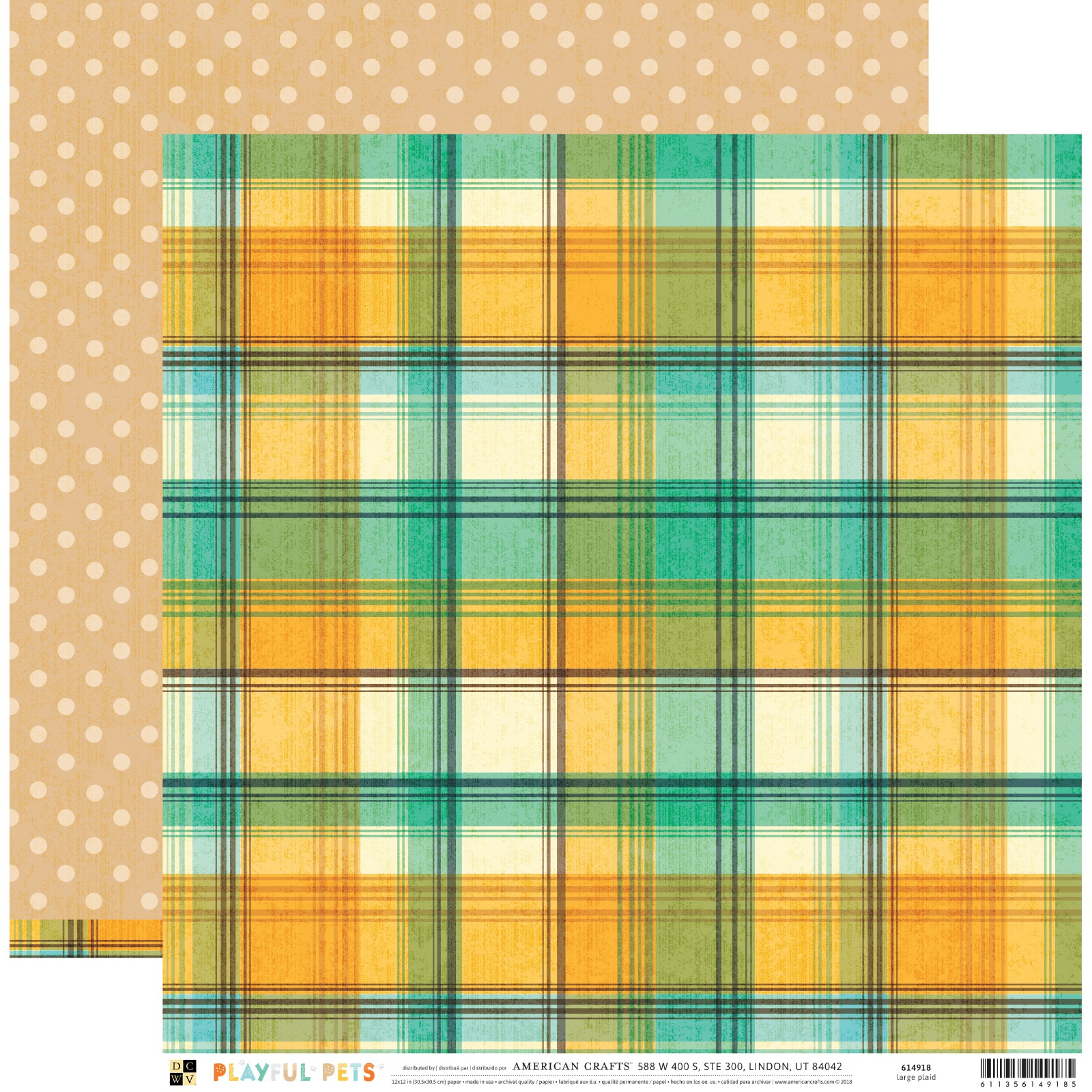 Playful Pets Double-Sided Cardstock 12X12-Large Plaid