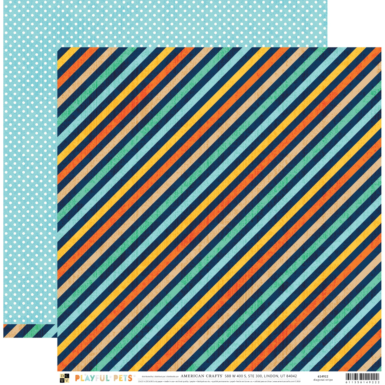 Playful Pets Double-Sided Cardstock 12X12-Diagonal Stripe