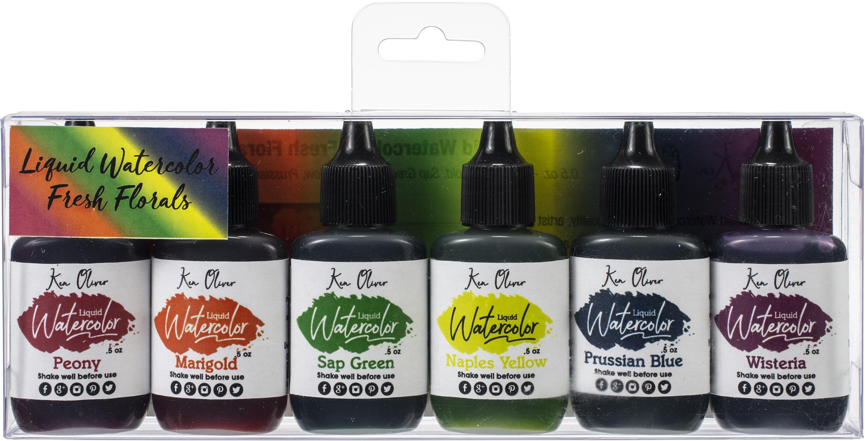 Ken Oliver Liquid Watercolor 6/Pkg-Fresh Florals