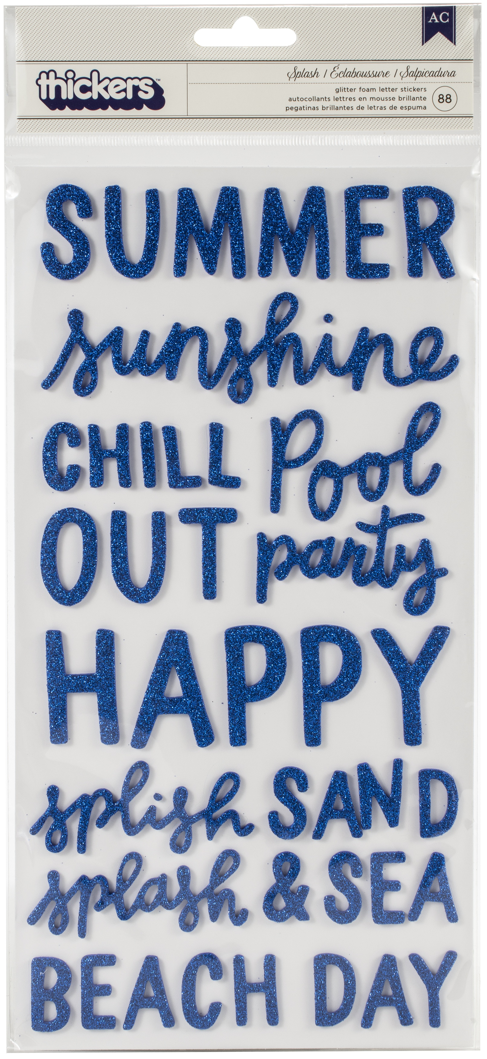Oh Summertime Thickers Stickers 5.5X11 88/Pkg-Phrase & Icon/Blue Glitter Foam