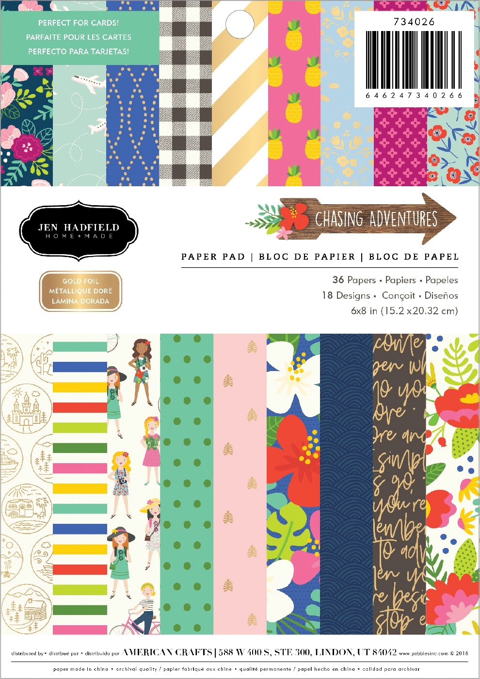 Pebbles Single-Sided Paper Pad 6X8 24/Pkg-Chasing Adventures, 18 Designs