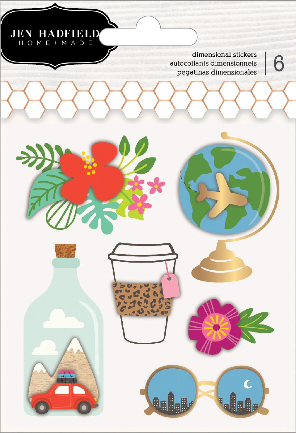 Chasing Adventures Layered Stickers 6/Pkg-W/Gold Foil Accents