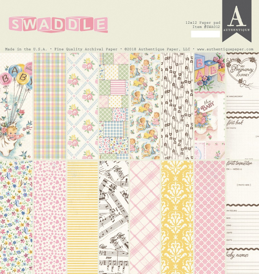 Authentique Double-Sided Cardstock Pad 12X12 24/Pkg-Swaddle Girl, 8 Designs/3 ...