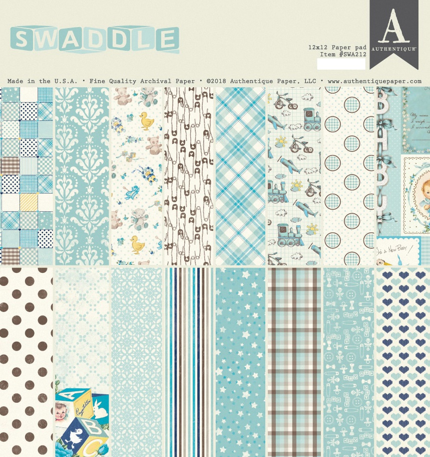 Authentique Double-Sided Cardstock Pad 12X12 24/Pkg-Swaddle Boy, 8 Designs/3 E...