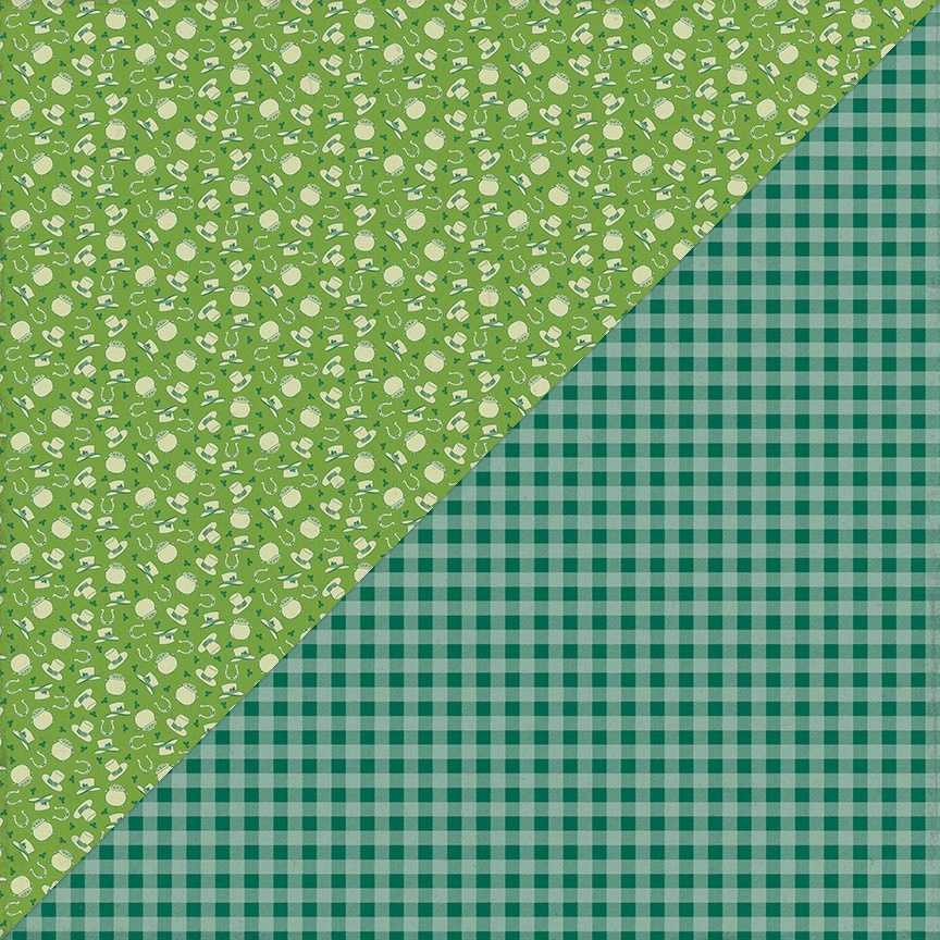 Clover Double-Sided Cardstock 12X12-#3 Hats, Pot O' Gold & Horseshoes