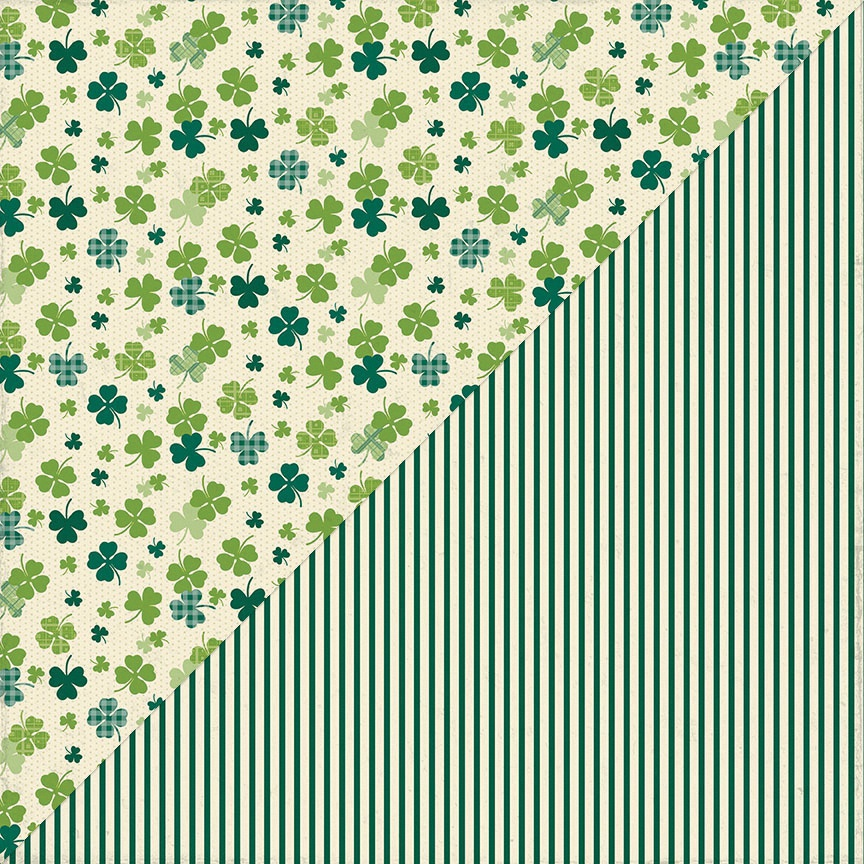 Clover Double-Sided Cardstock 12X12-#4 Shamrock & Clovers