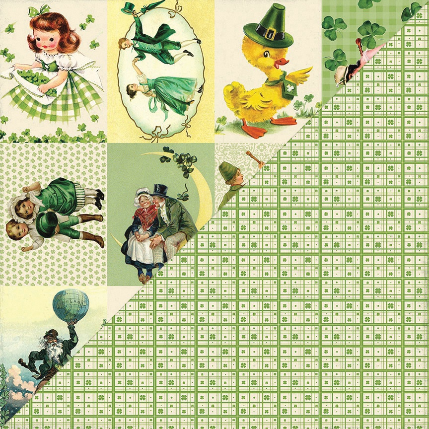 Clover Double-Sided Cardstock 12X12-#6 Vintage Cut-Aparts