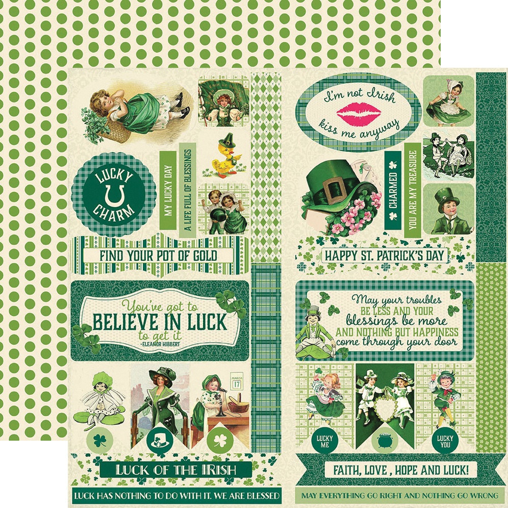 Clover Double-Sided Cardstock Die-Cut Sheet 12X12-Elements
