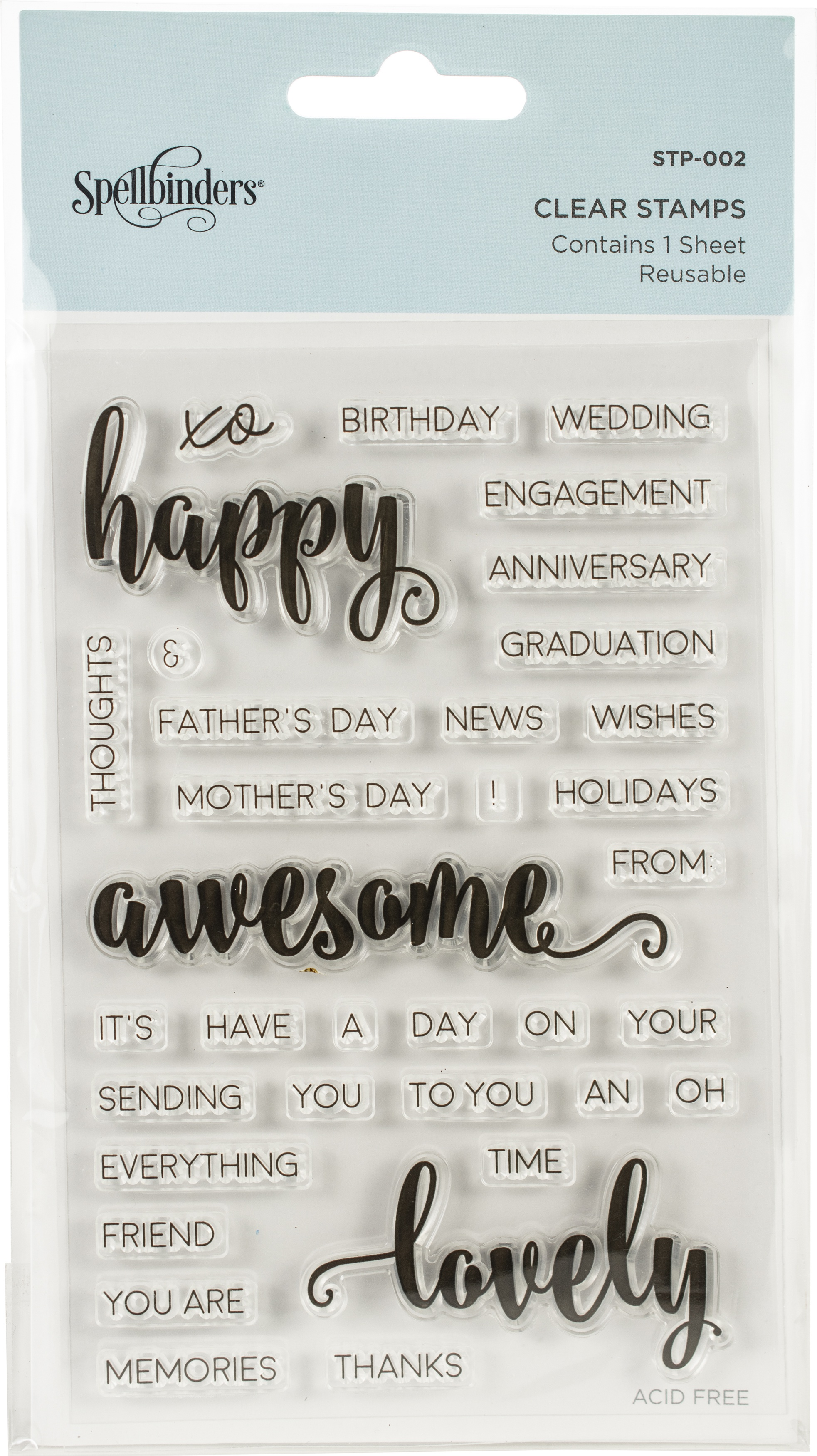 Spellbinders Clear Acrylic Stamps-Happy Sentiments