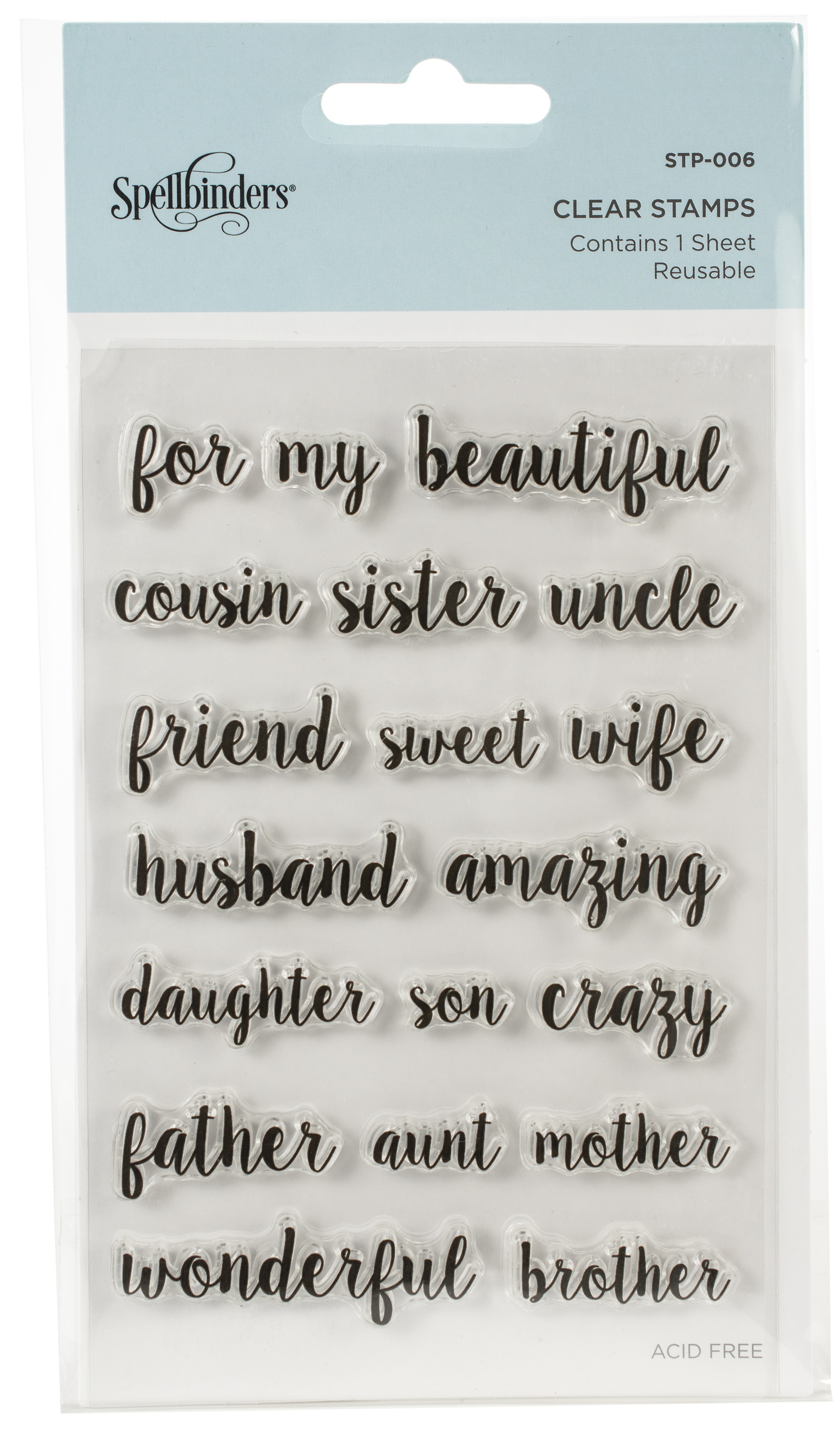 Spellbinders Clear Acrylic Stamps-Family Sentiments