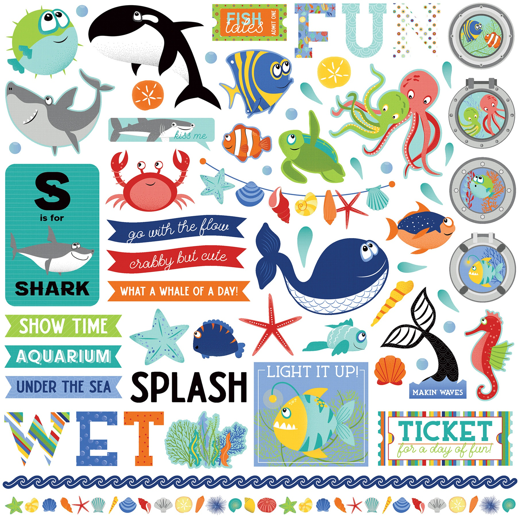 Fish Tales Stickers 12X12-Elements