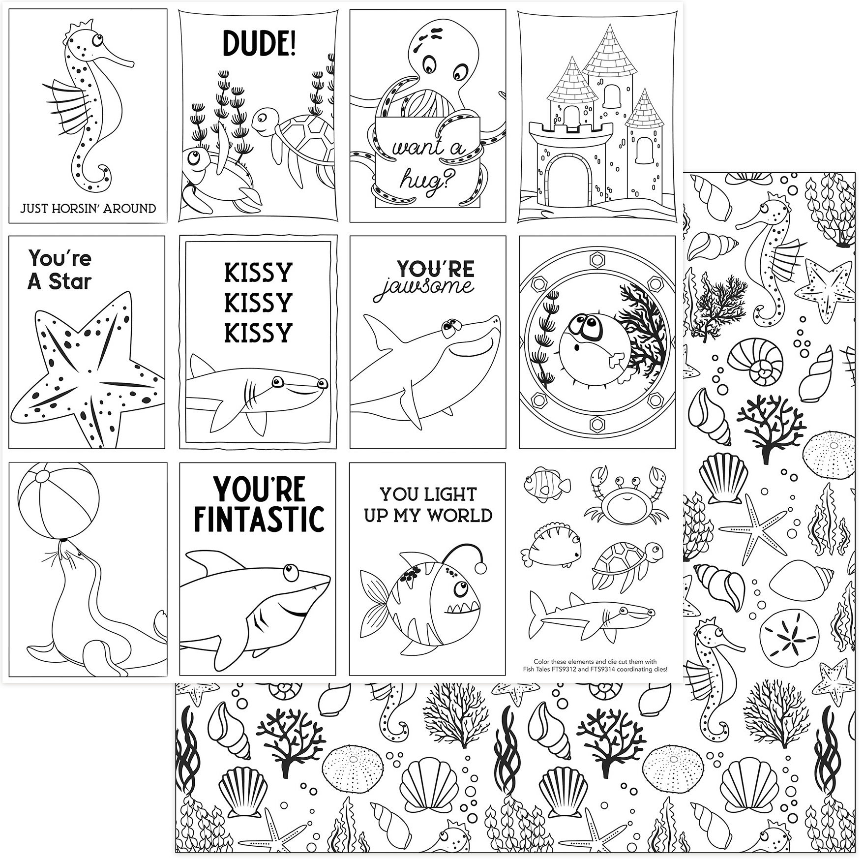 Fish Tales Double-Sided Cardstock 12X12-Black & White Color Me Cards