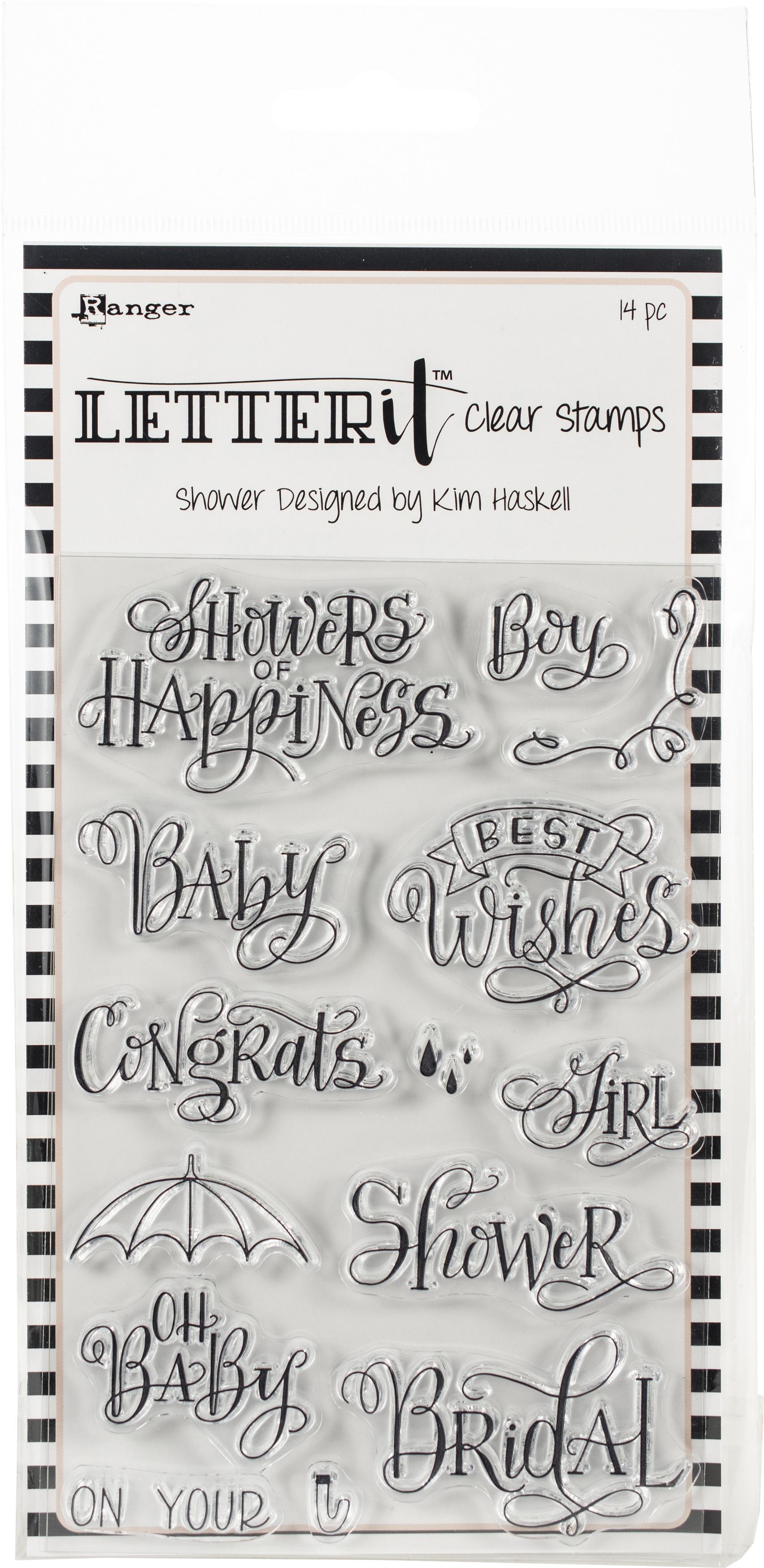 Ranger Letter It Clear Stamp Set 4X6-Shower