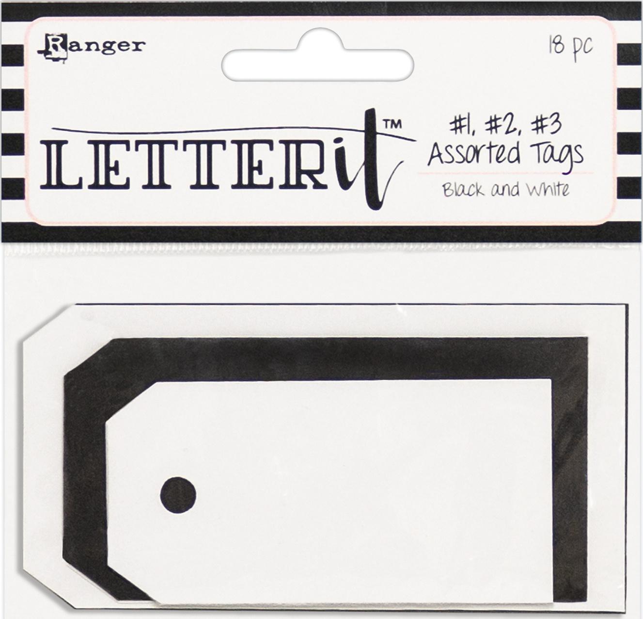 Ranger Letter It Tag Assortment 18/Pkg-3 Each Of #1, #2 & #3 Black & White