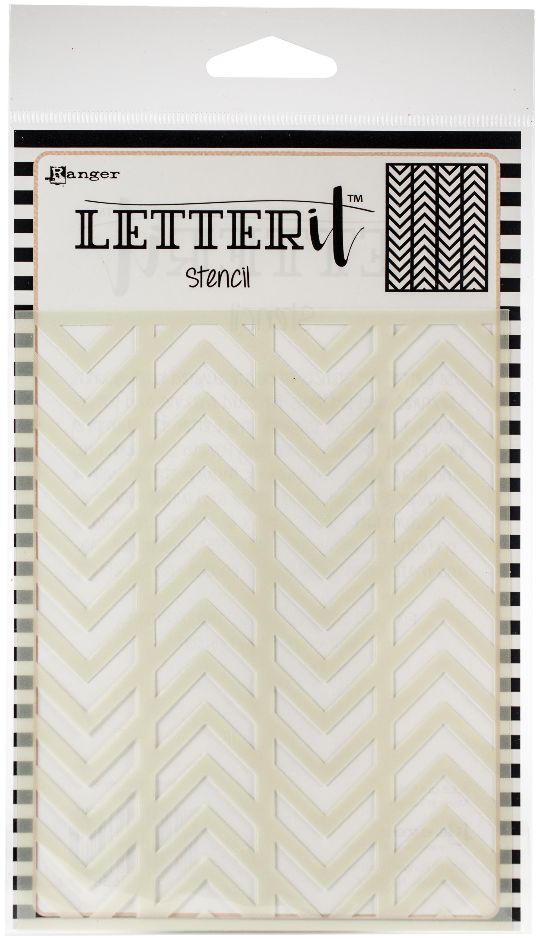 Ranger Letter It Background Stencil 4.75X6-Alternating Chevrons