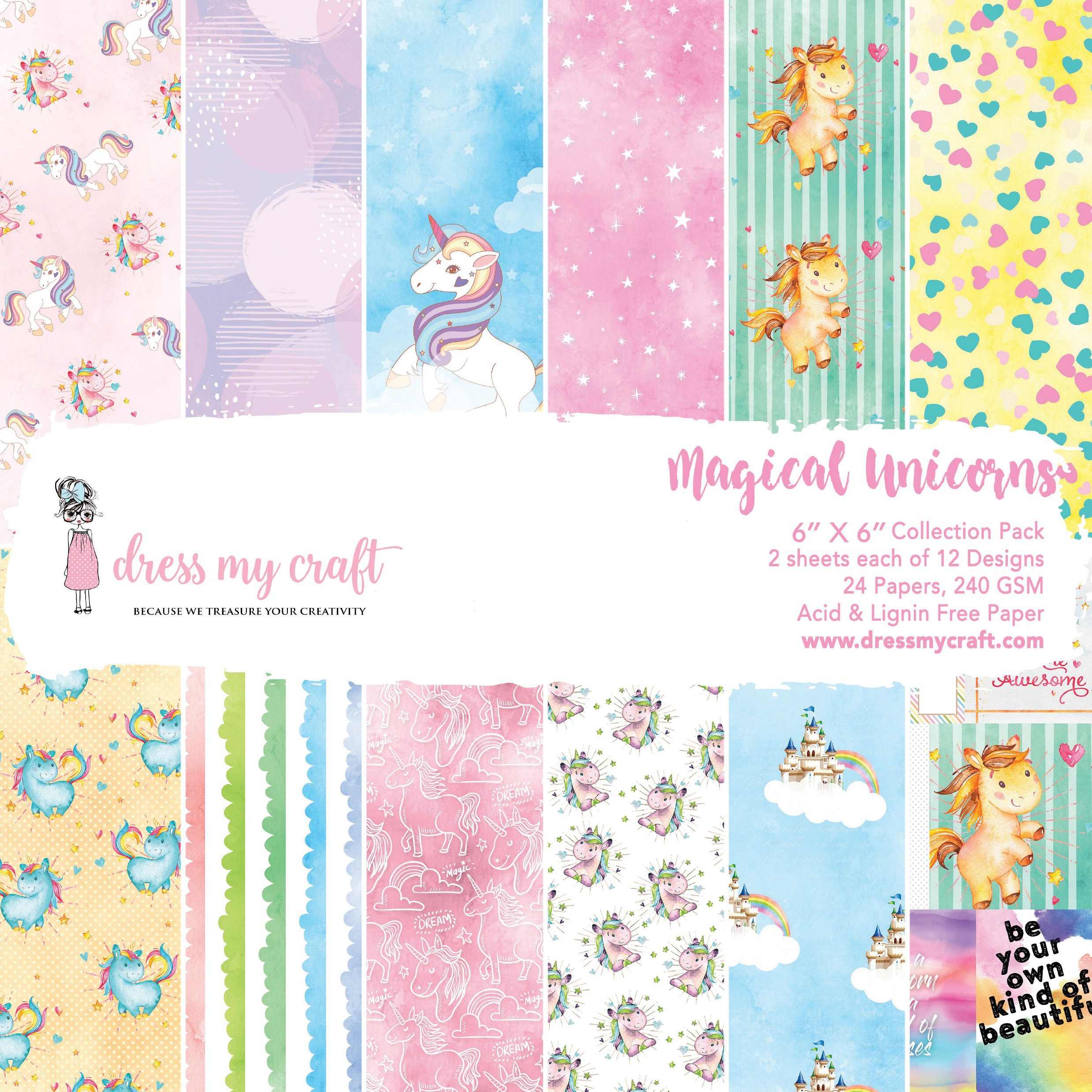 Dress My Crafts Single-Sided Paper Pad 6X6 24/Pkg-Magical Unicorn, 12 Designs/...