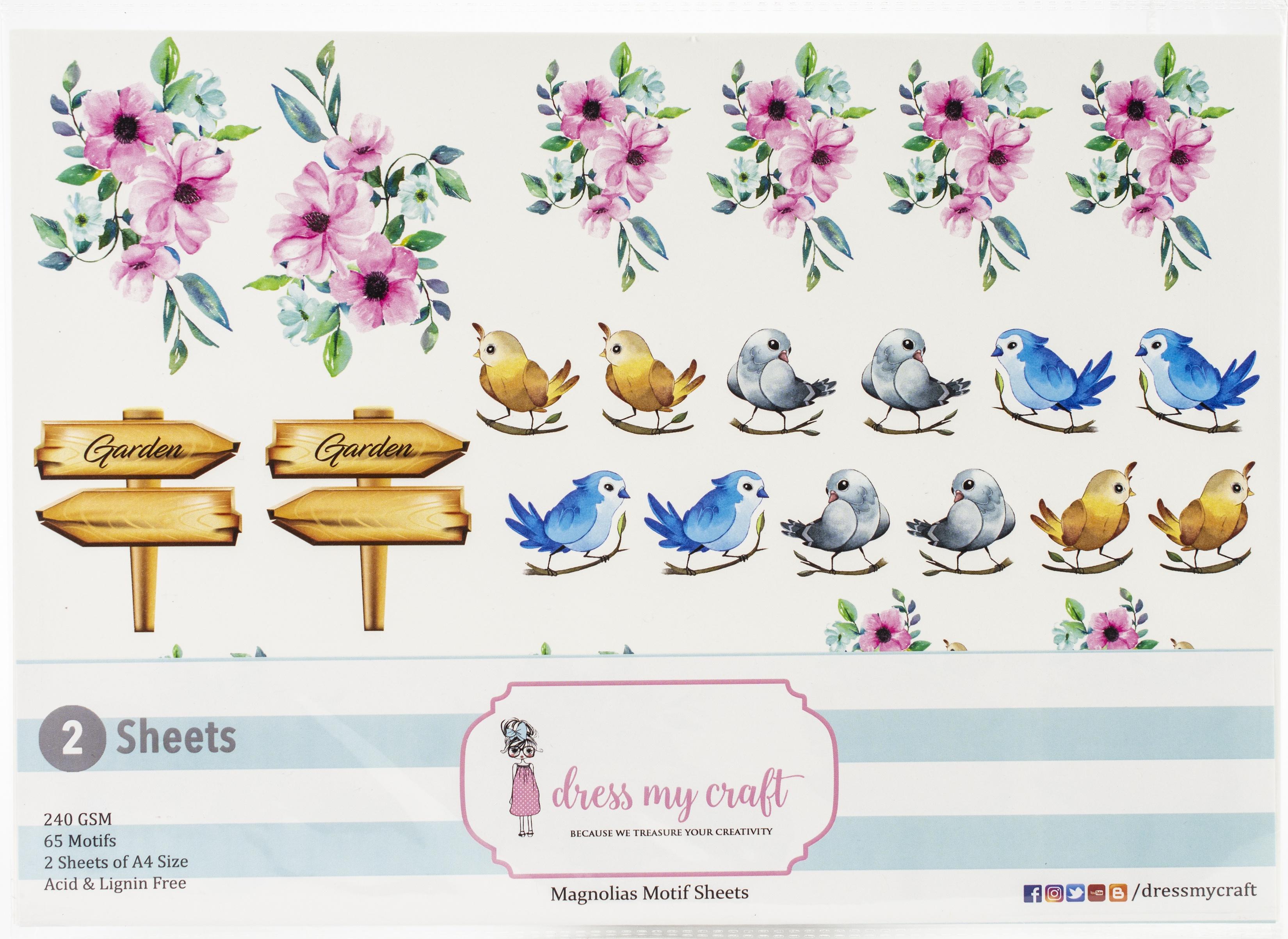 Dress My Craft Image Sheet 240gsm A4 2/Pkg-Magnolias