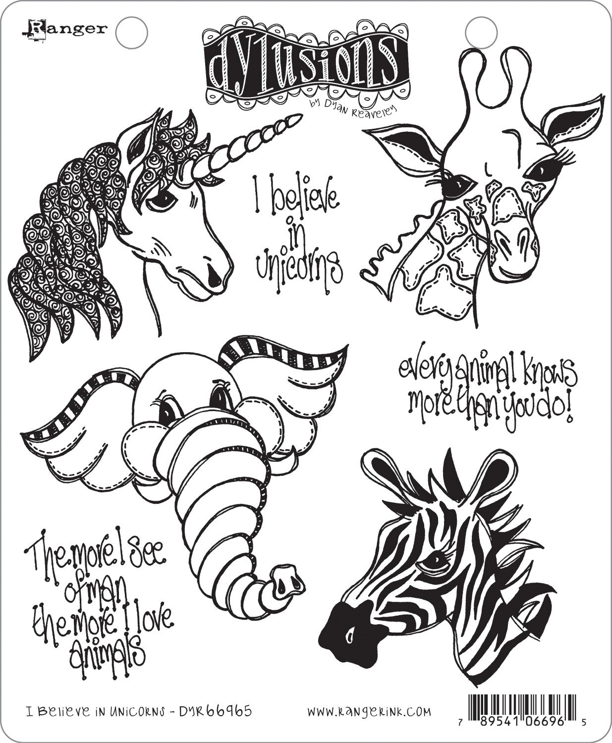 Dyan Reaveley's Dylusions Cling Stamp Collections 8.5X7-I Believe In Unicorns