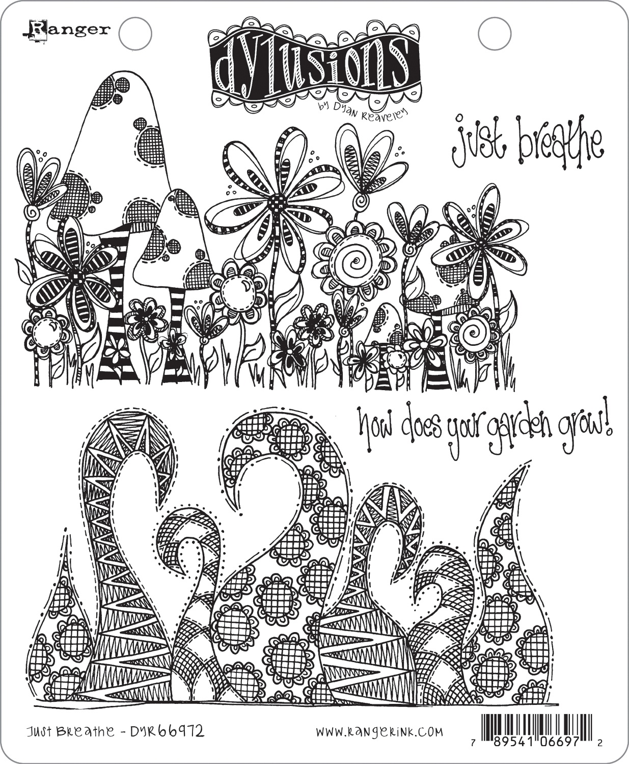 Dyan Reaveley's Dylusions Cling Stamp Collections 8.5X7-Just Breathe