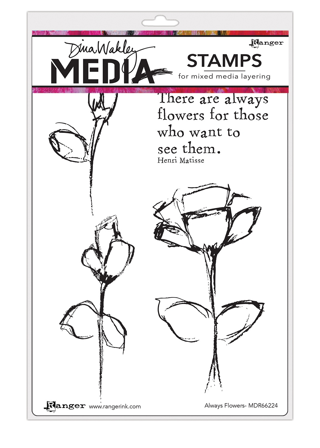 Dina Wakley Media Cling Stamps 6X9-Always Flowers