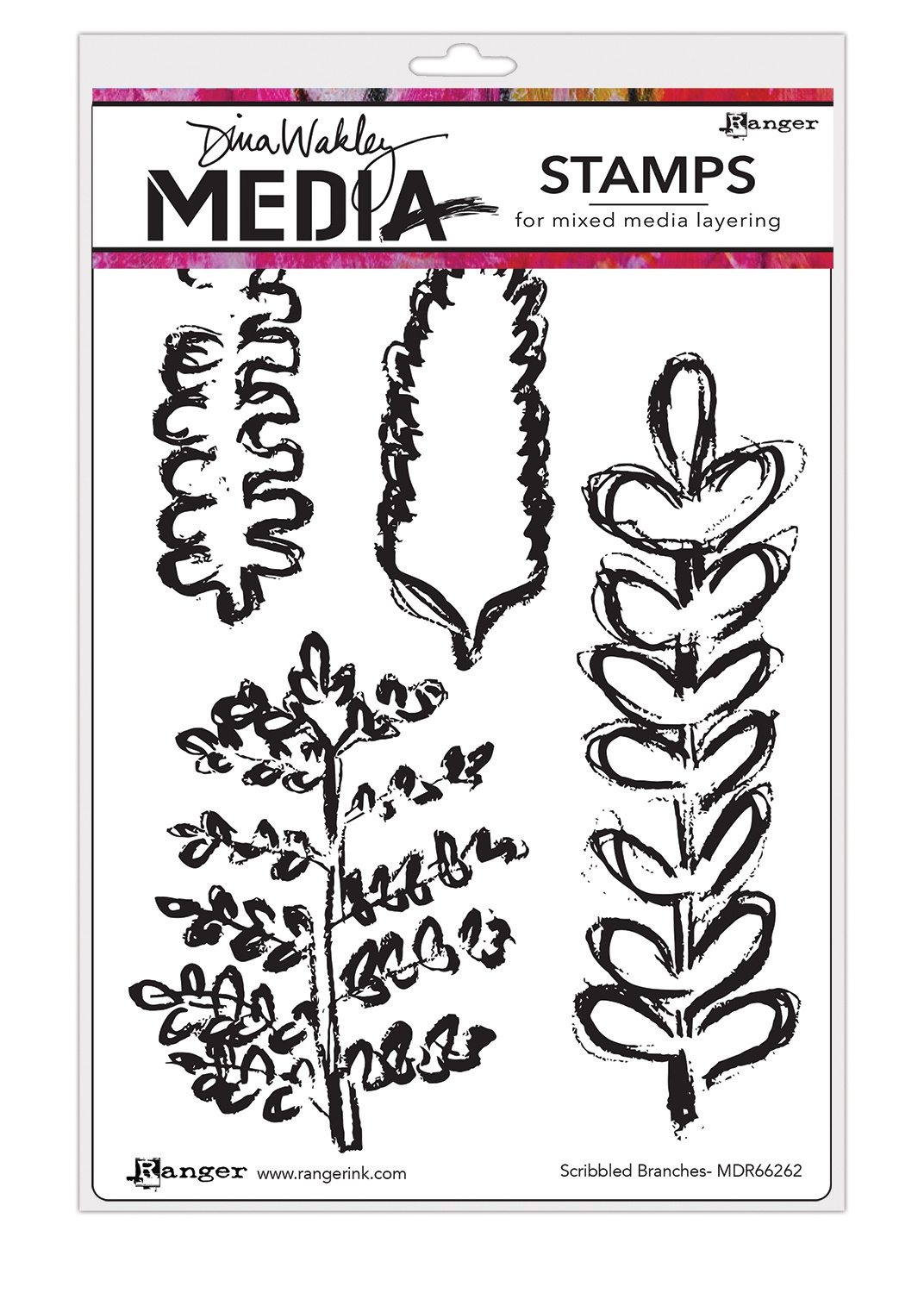 Dina Wakley Media Cling Stamps 6X9-Scribbled Branches
