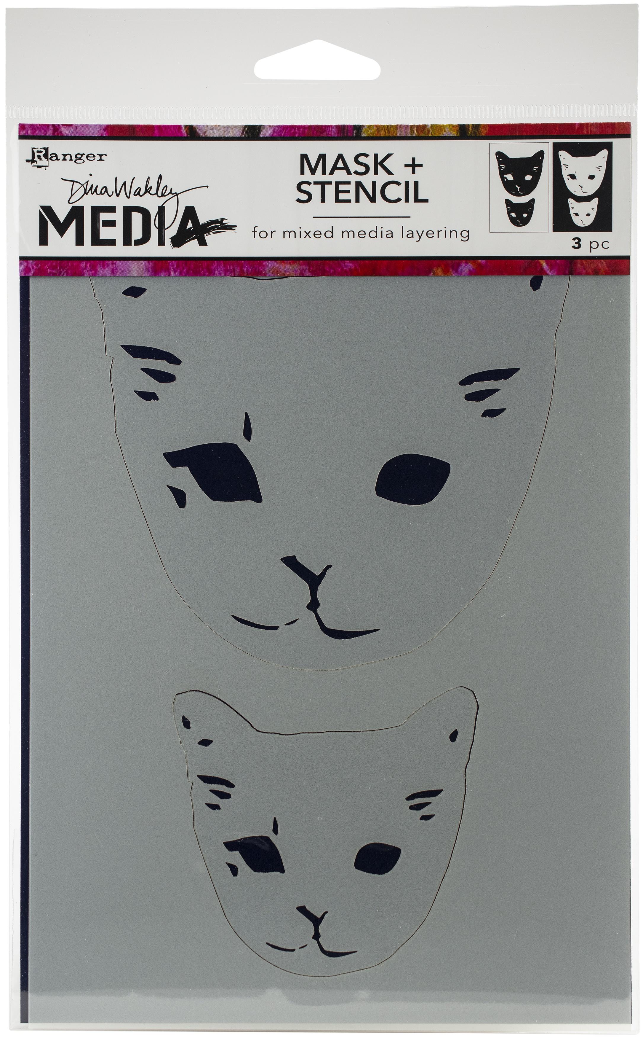 Dina Wakley Media Stencils 9X6-Cat Head Masks