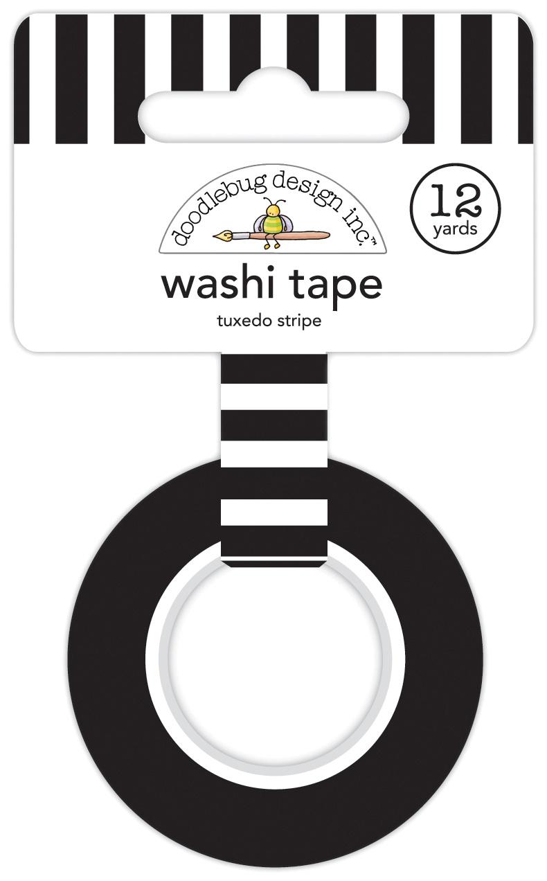 Doodlebug Washi Tape 15mmx12yd-Tuxedo Stripe