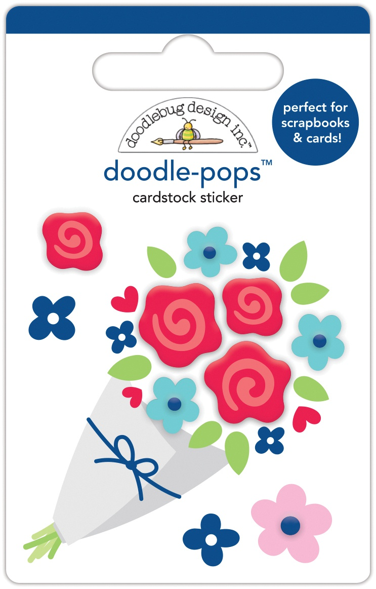 Doodlebug Doodle-Pops 3D Stickers-Roses Are Red