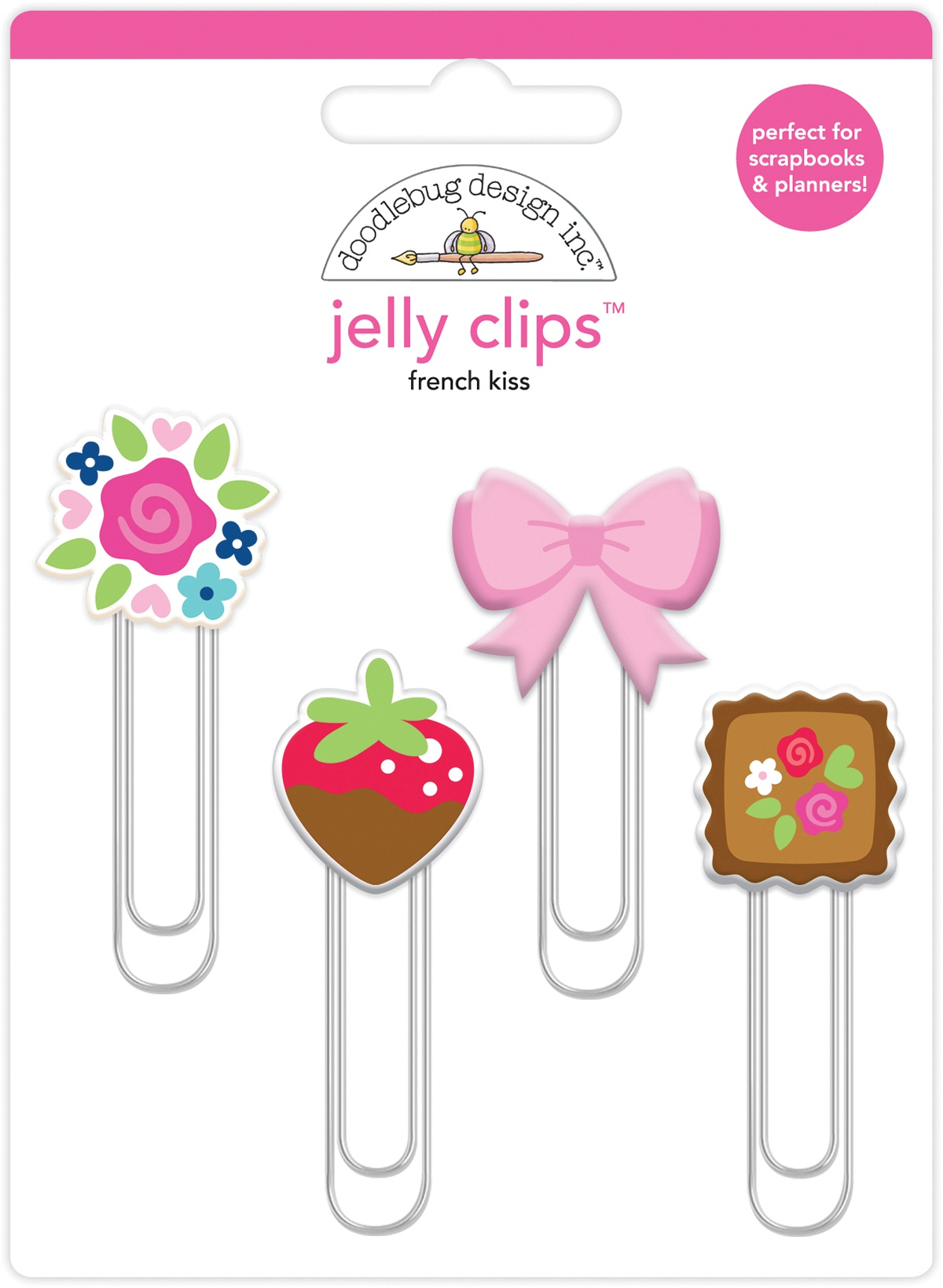 Doodlebug Jelly Clips 4/Pkg-French Kiss