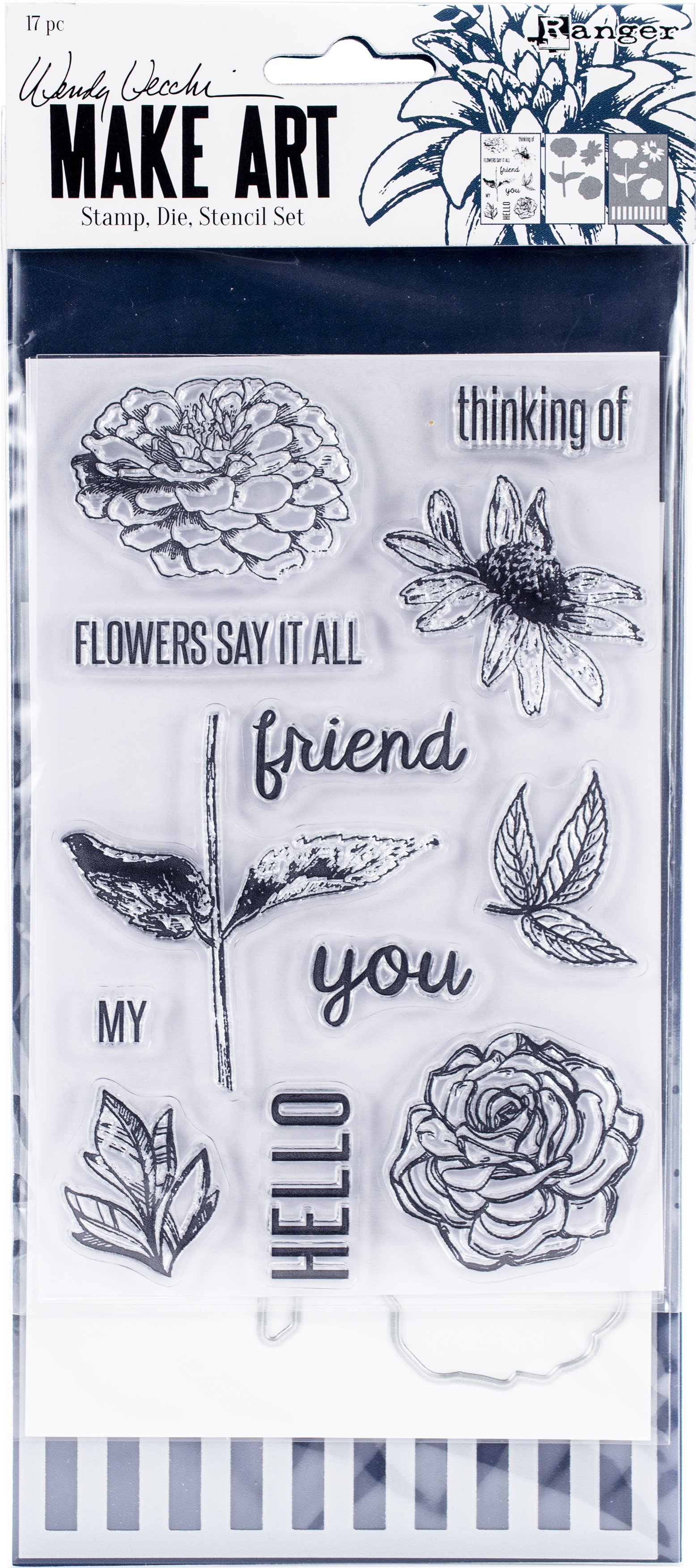 Wendy Vecchi Make Art Stamp, Die & Stencil Set-Flowers Say It All