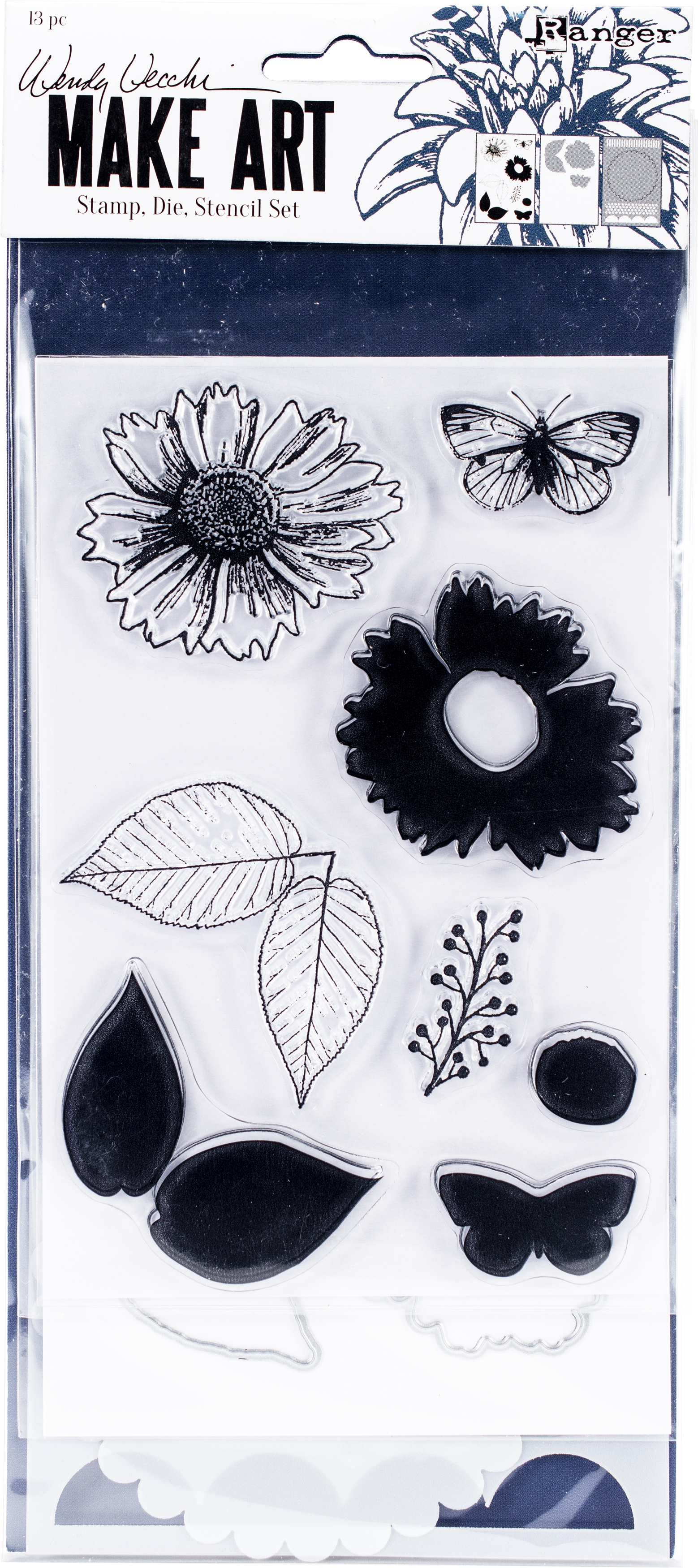 Wendy Vecchi Make Art Stamp, Die & Stencil Set-Country Flowers