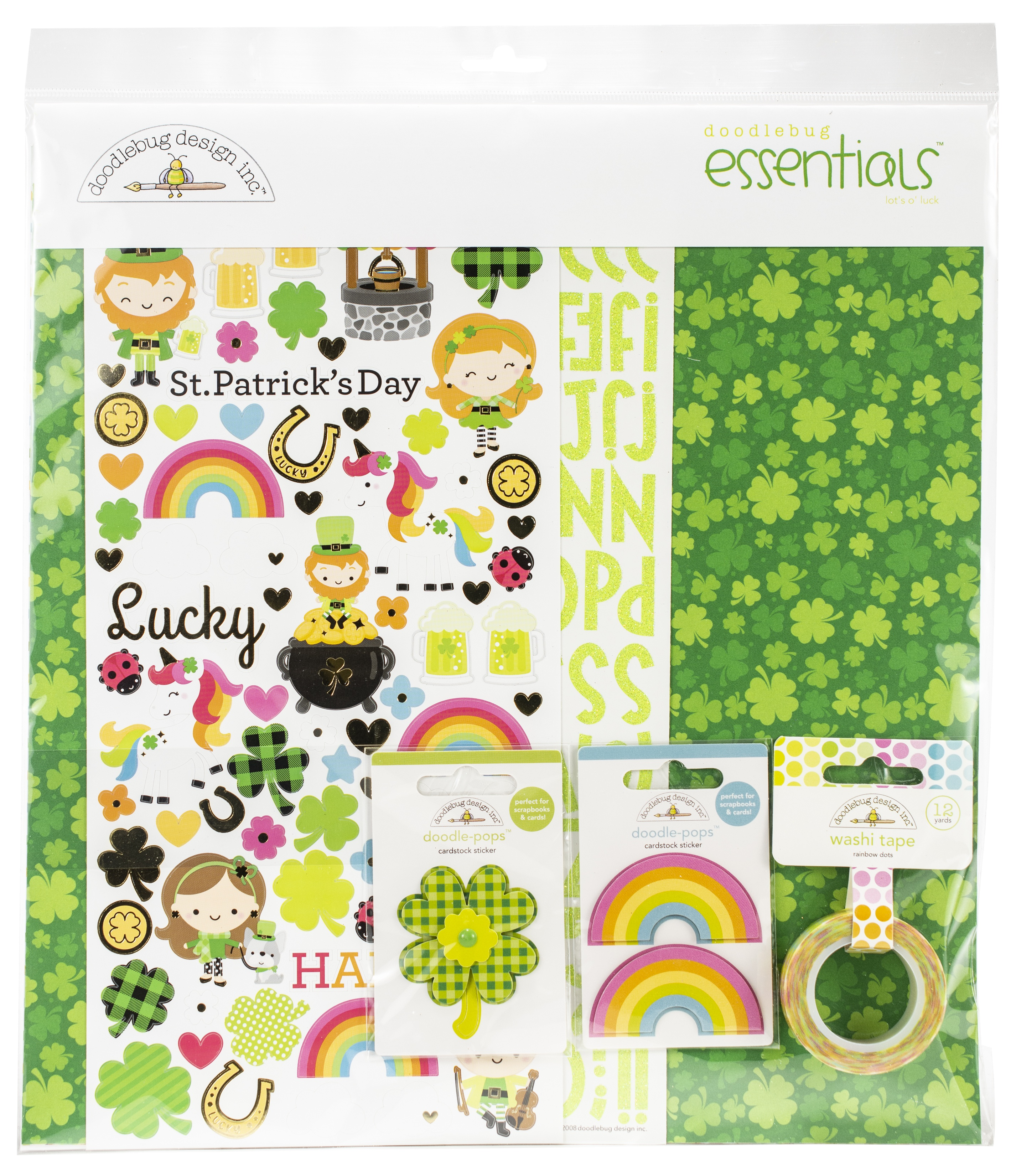 Doodlebug Essentials Page Kit 12X12-Lots O' Luck