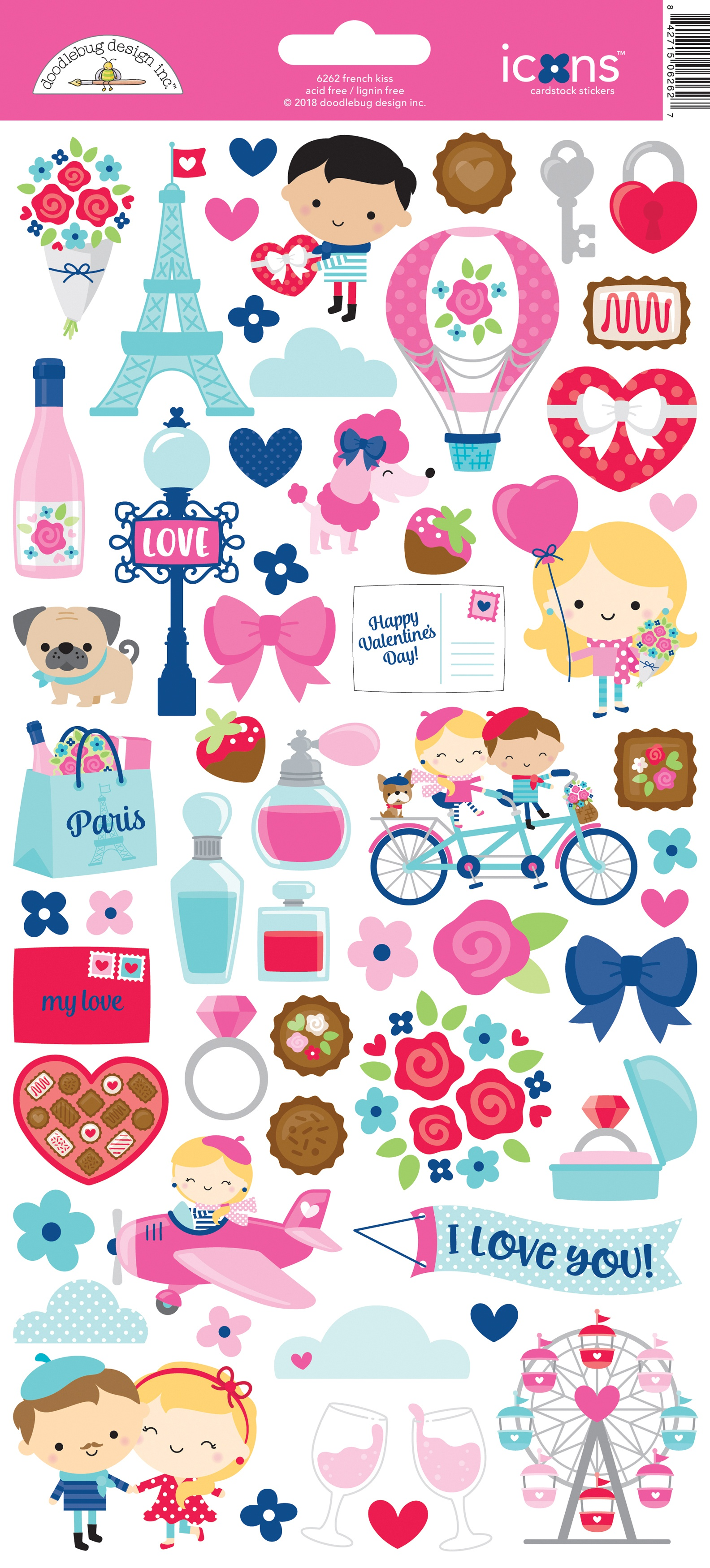 Doodlebug Cardstock Stickers 6X13-French Kiss Icons