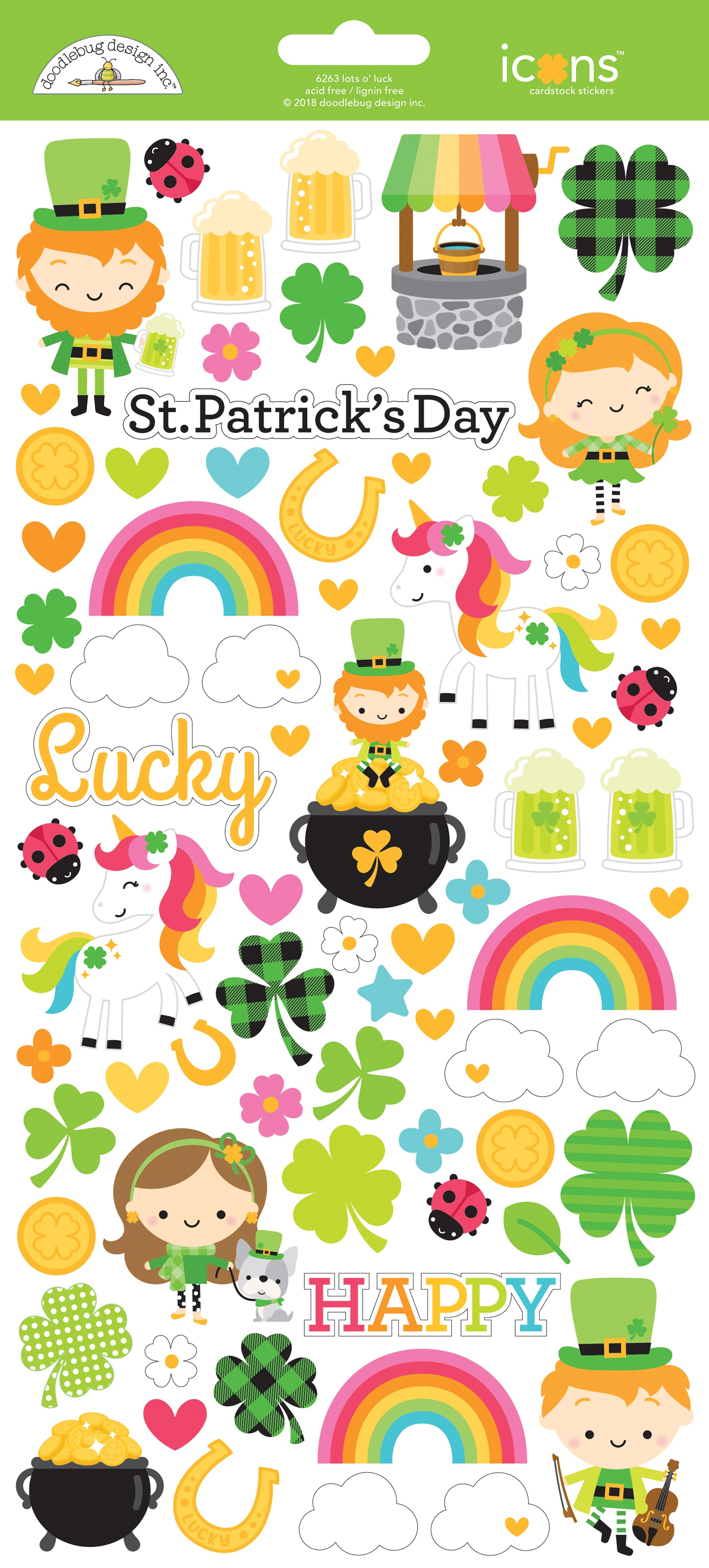 Doodlebug Cardstock Stickers 6X13-Lots O'luck Icons