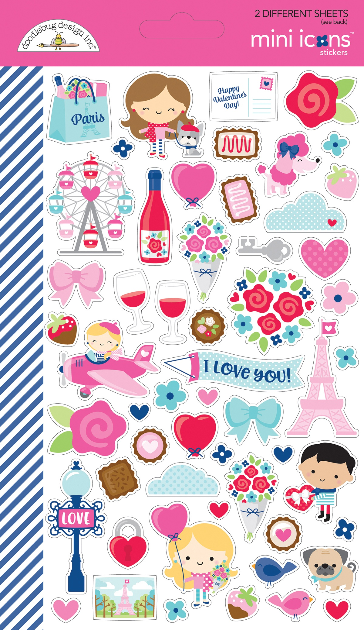 Doodlebug Mini Cardstock Stickers 2/Pkg-French Kiss