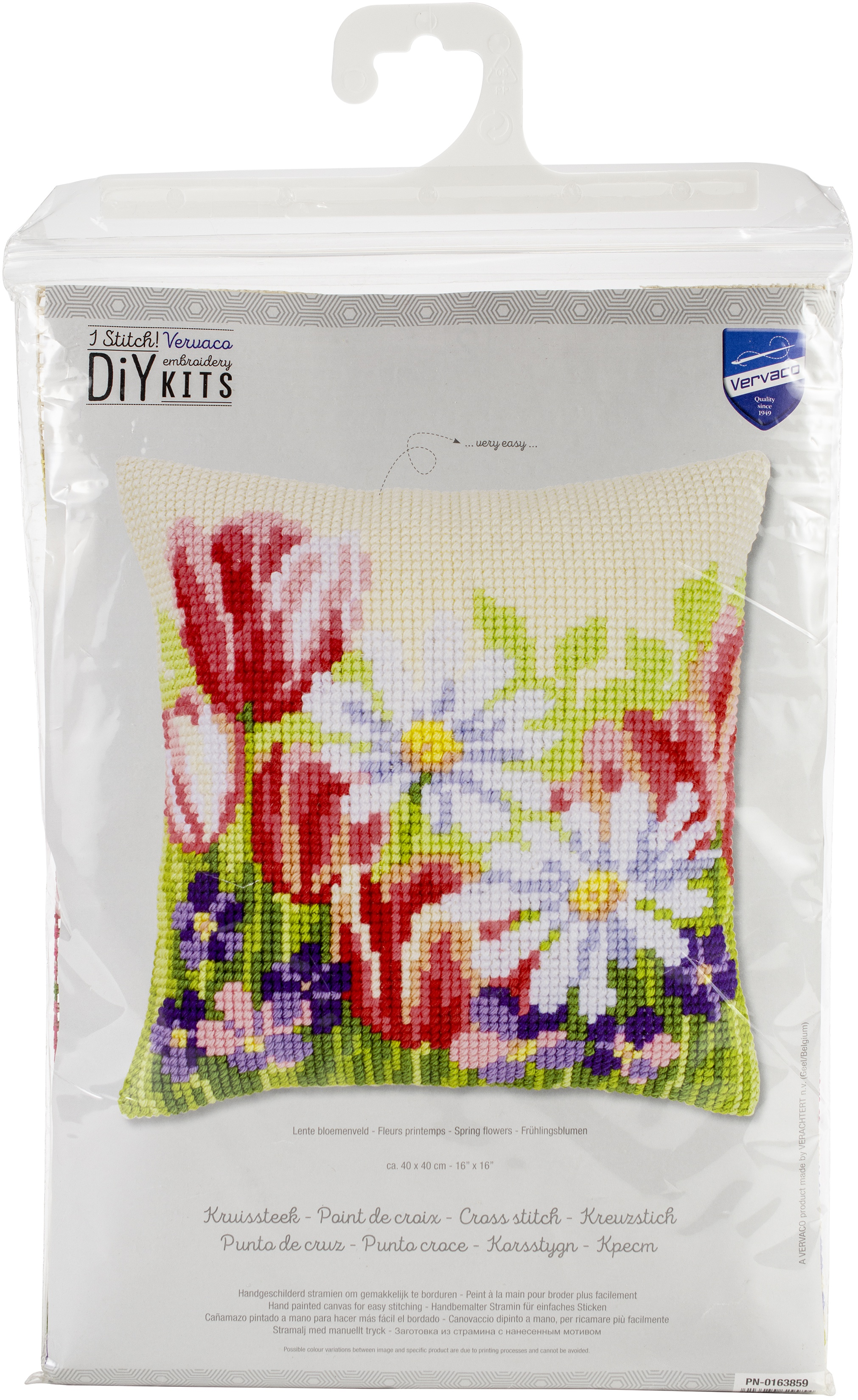 Vervaco Needlepoint Cushion Top Kit 16X16-Spring Flowers Stitched In Yarn