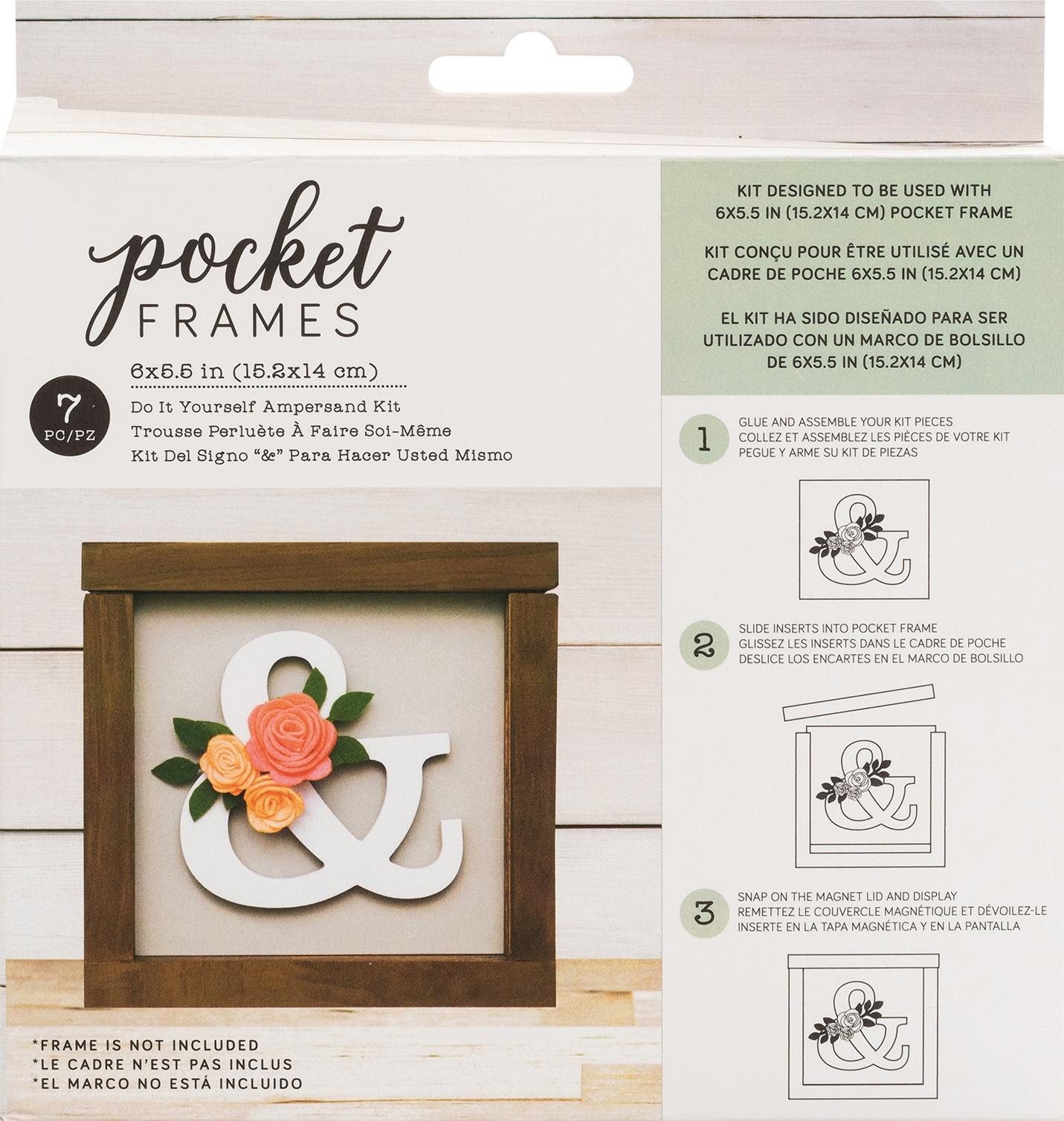 American Crafts Pocket Frames Insert Kit 6X5.5 7/Pkg-Ampersand W/Insert