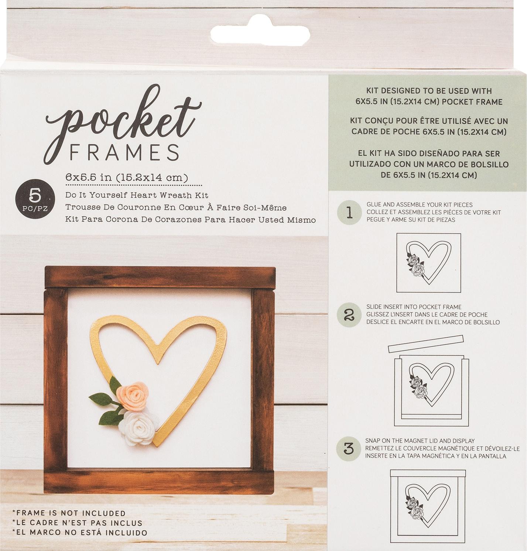 American Crafts Pocket Frames Insert Kit 6X5.5 5/Pkg-Heart Wreath W/Insert